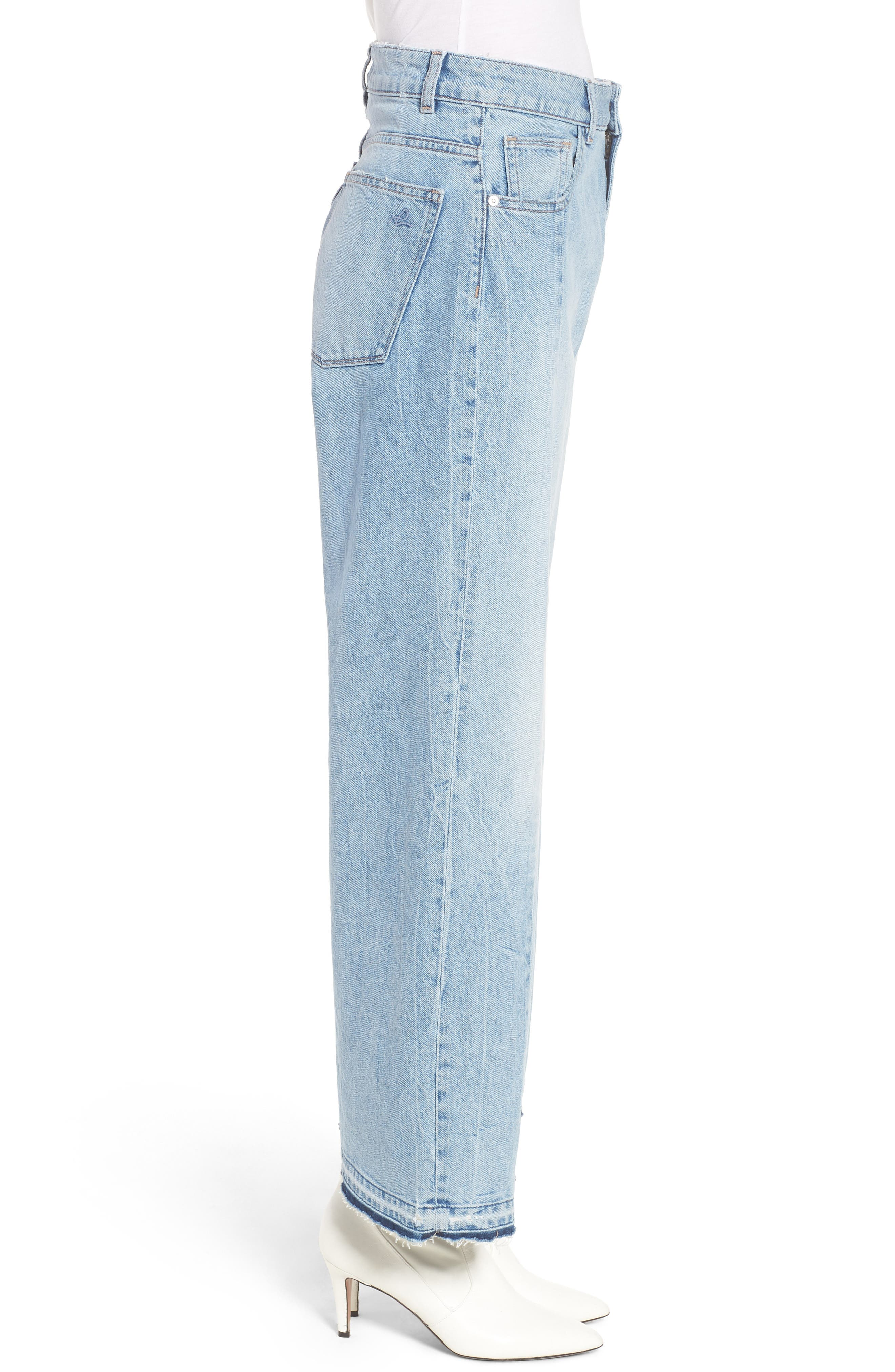 Hepburn High Waist Wide Leg Jeans,                             Alternate thumbnail 4, color,                             Oldtown