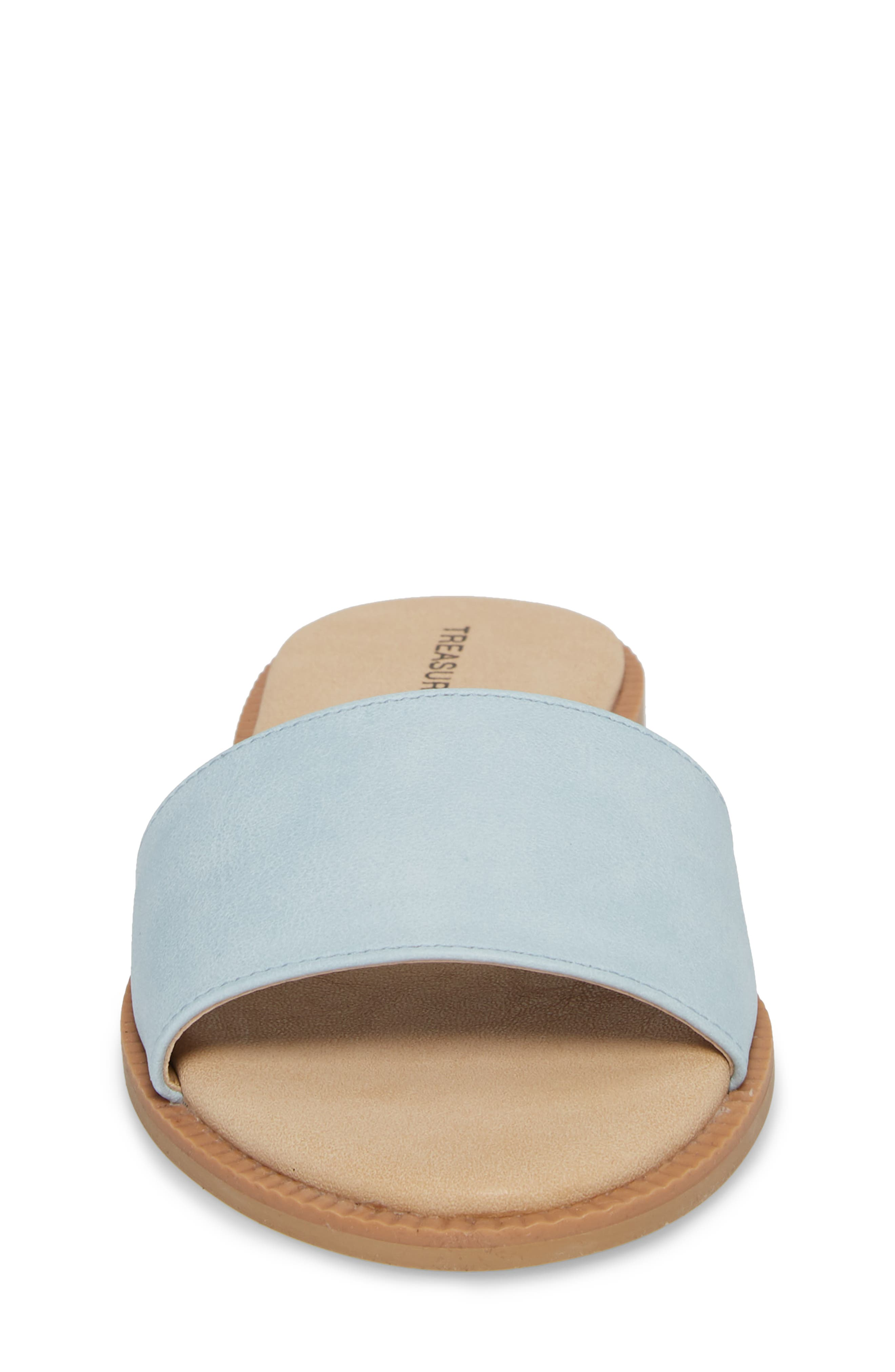 Mia Slide Sandal,                             Alternate thumbnail 4, color,                             Aqua Faux Leather