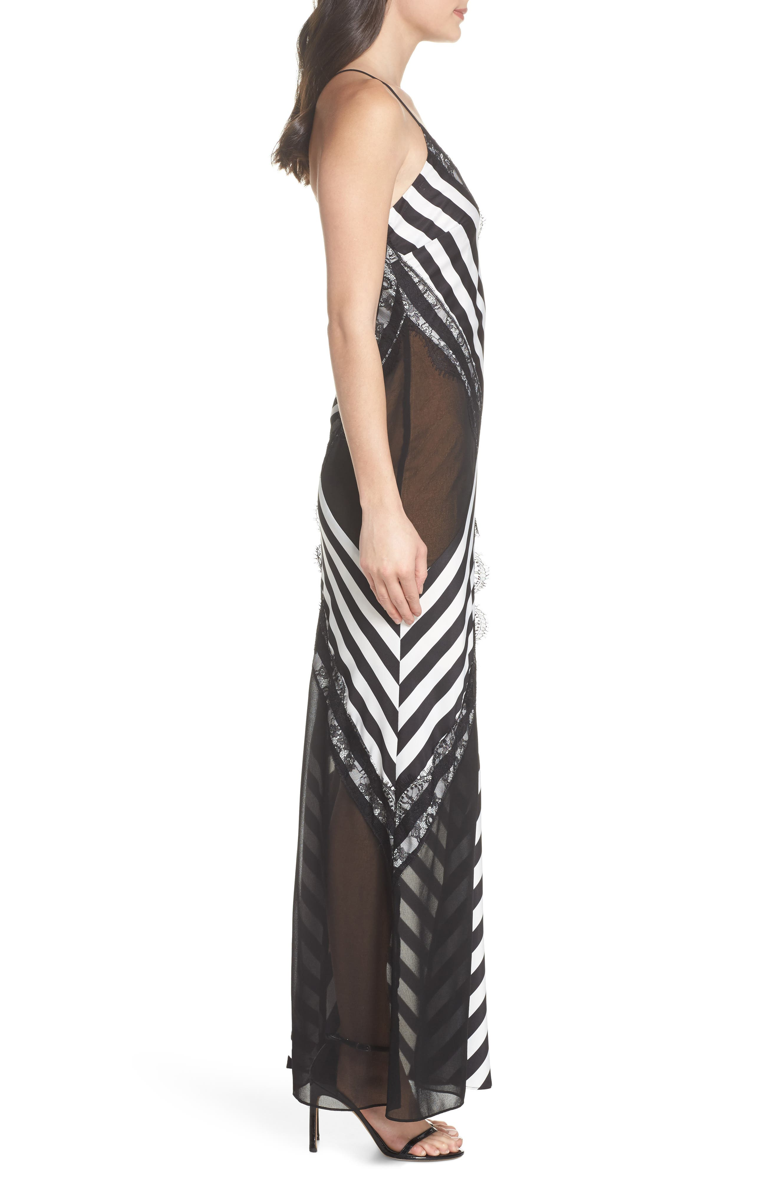 Illusion Stripe Gown,                             Alternate thumbnail 3, color,                             Black/ White