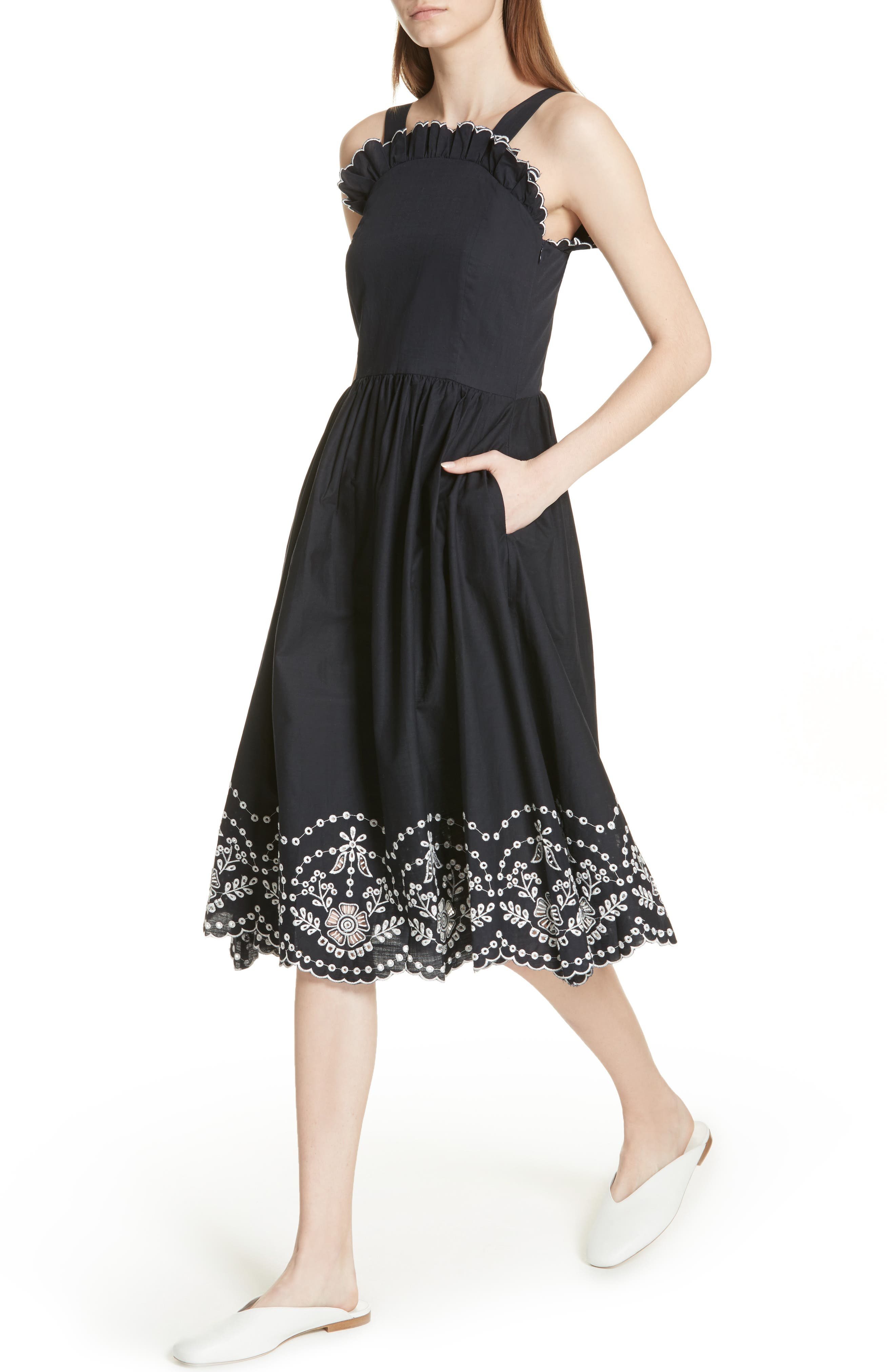 Alouette Eyelet Hem Dress,                             Alternate thumbnail 4, color,                             Navy