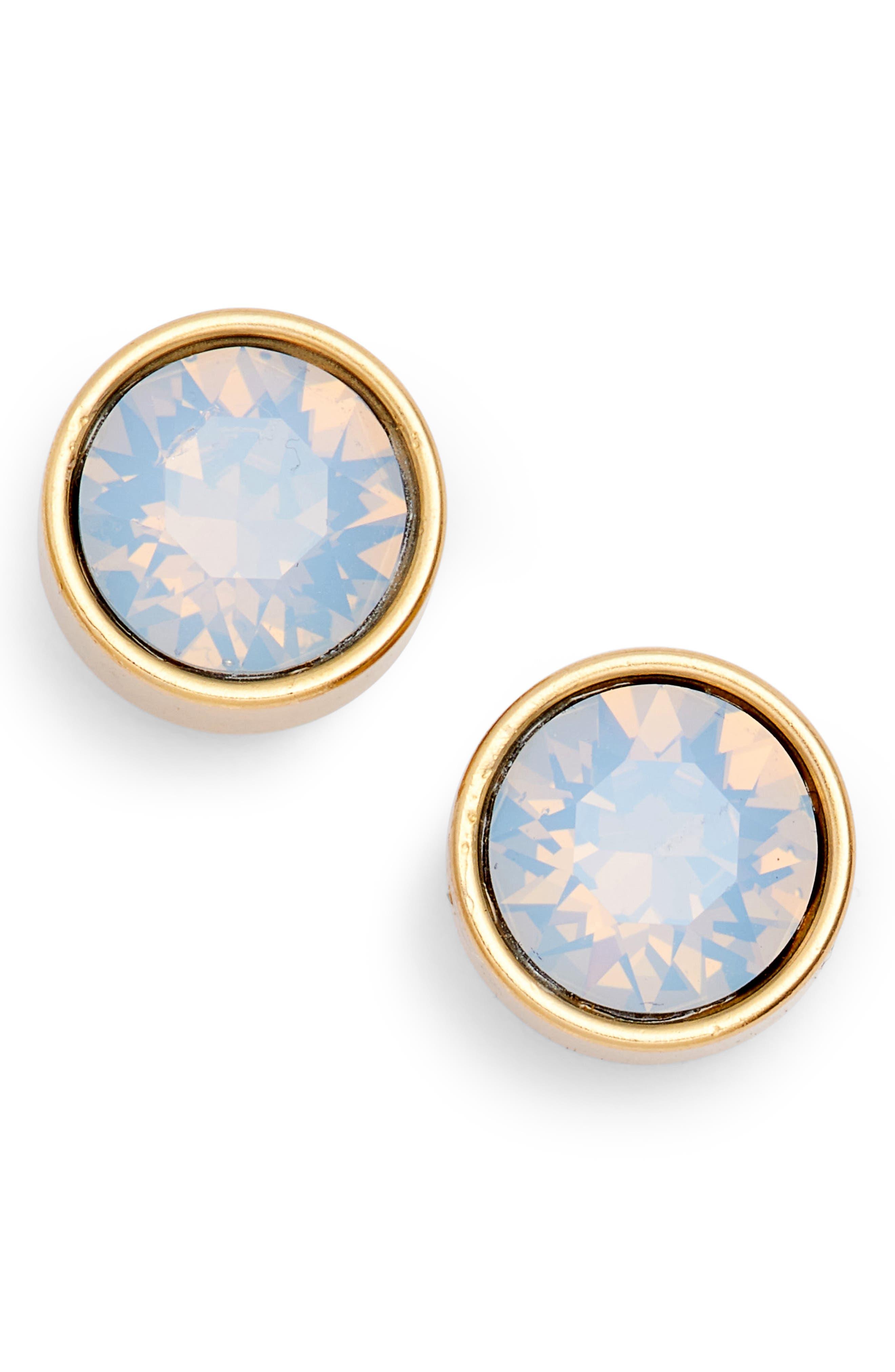 Bezel Set Stud Earrings,                             Main thumbnail 1, color,                             Cashmere/ Gold