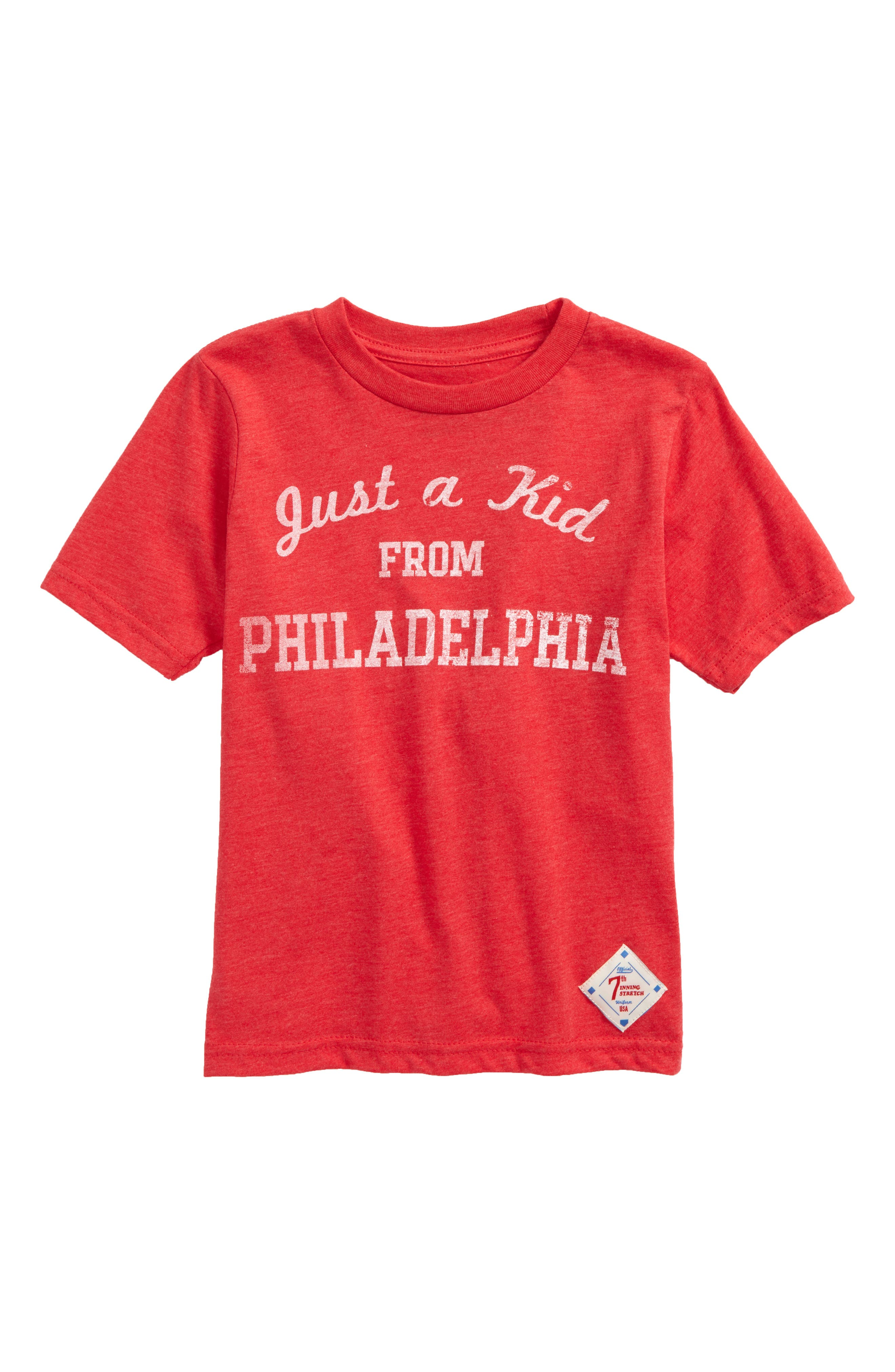 Just a Kid from Philadelphia Graphic T-Shirt,                             Main thumbnail 1, color,                             Red/ White