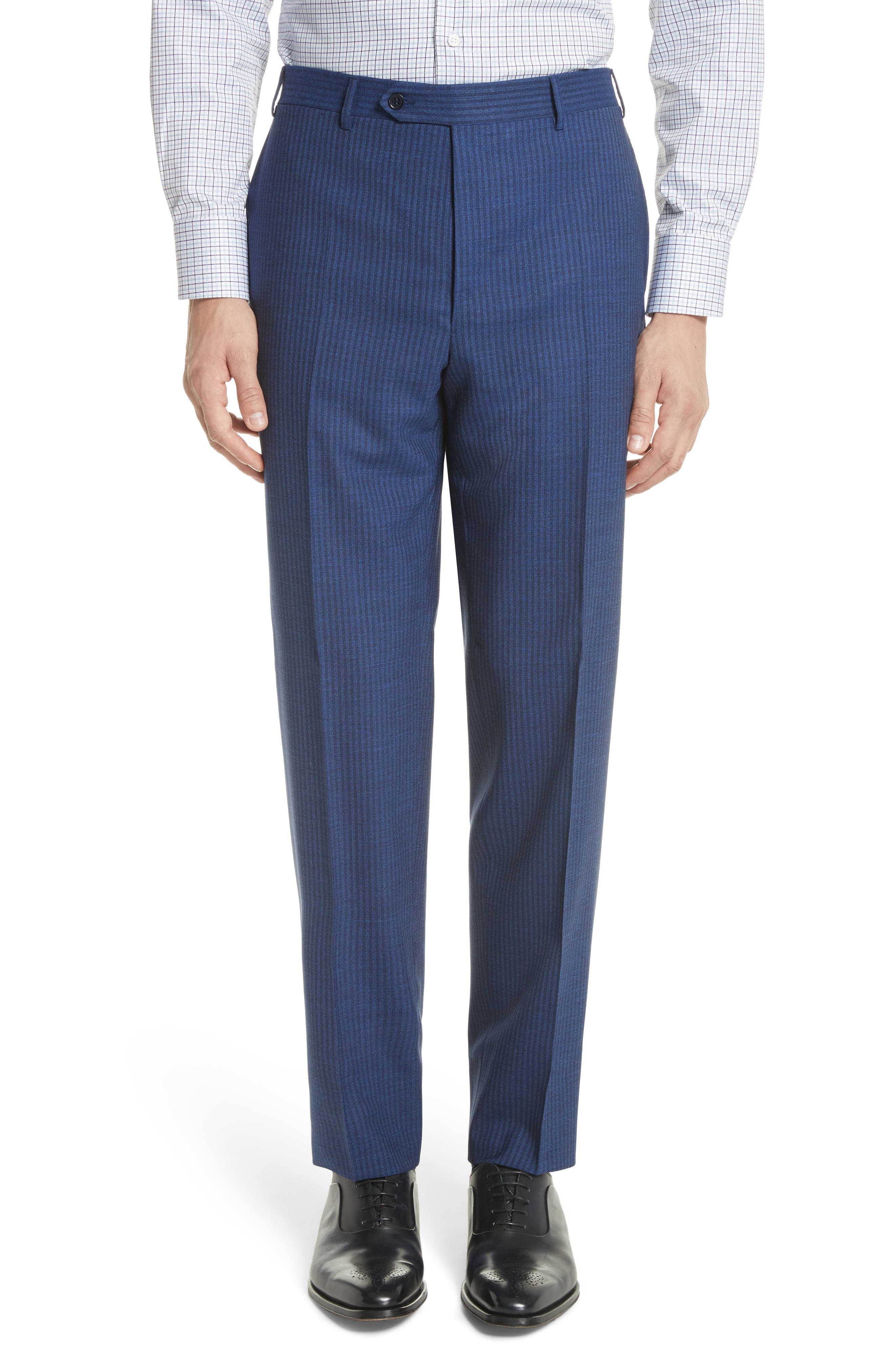 Classic Fit Shadow Stripe Wool Suit,                             Alternate thumbnail 6, color,                             Navy