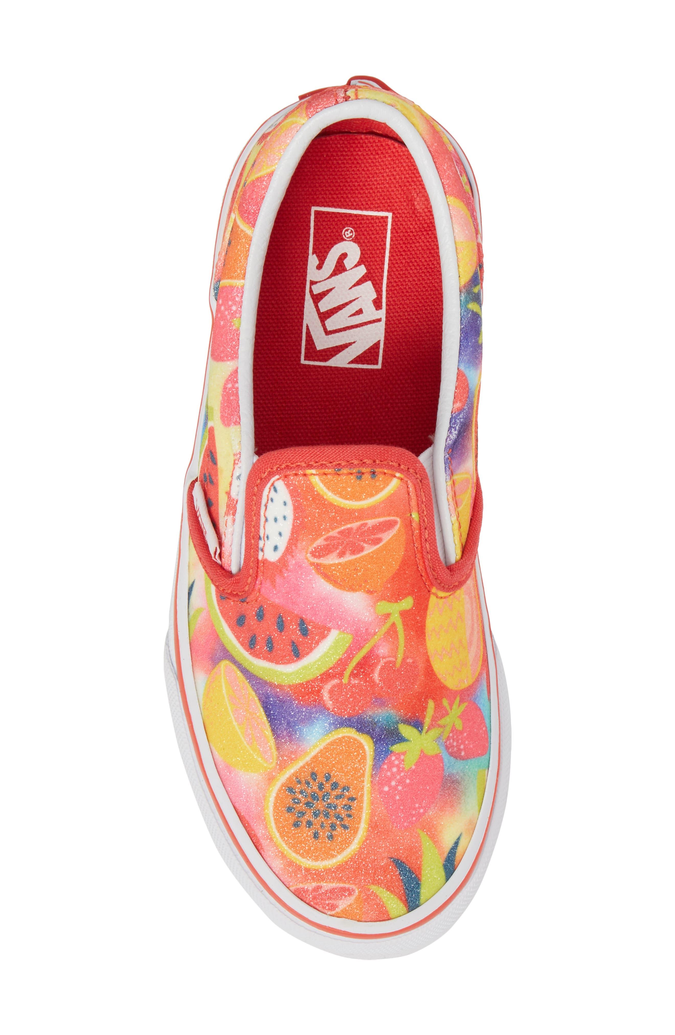 Classic Glitter Fruit Slip-On Sneaker,                             Alternate thumbnail 5, color,                             White/ Multi Glitter Fruits