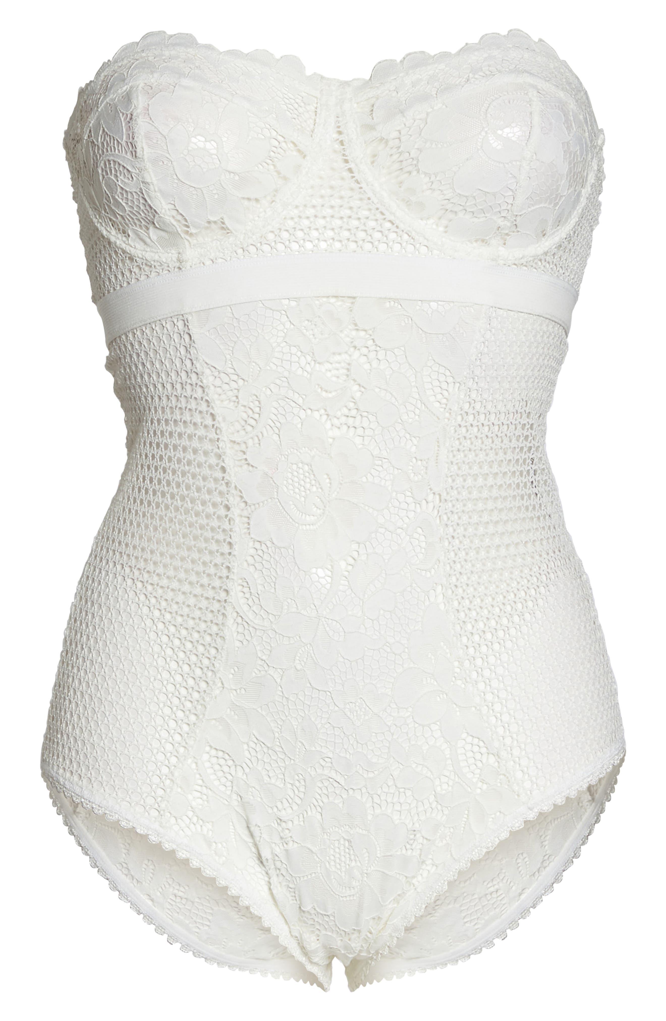 Petunia Strapless Underwire Corsette Bodysuit,                             Alternate thumbnail 4, color,                             Ivory