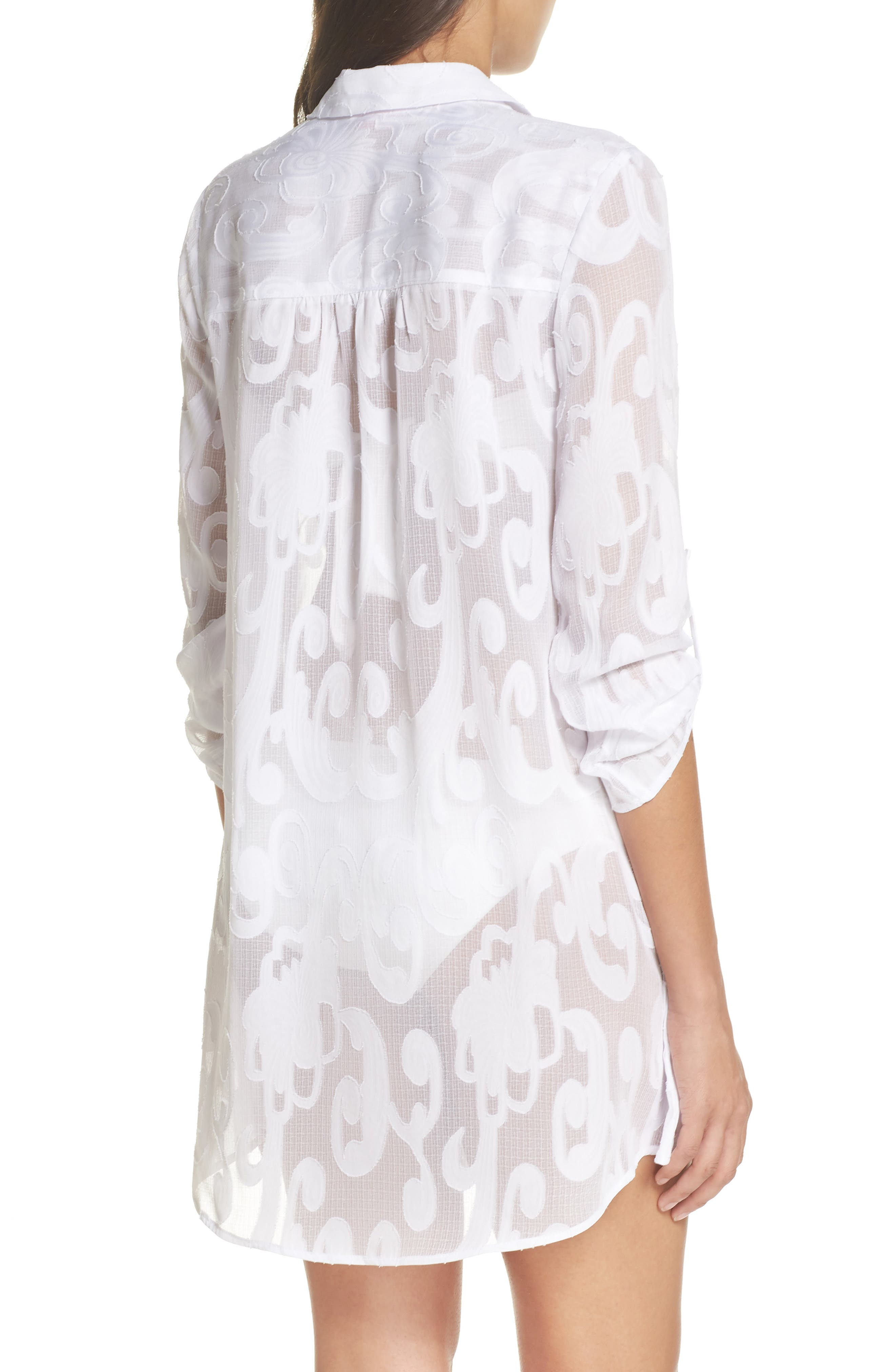 Natalie Shirtdress Cover-Up,                             Alternate thumbnail 2, color,                             Resort White Poly Crepe Swirl