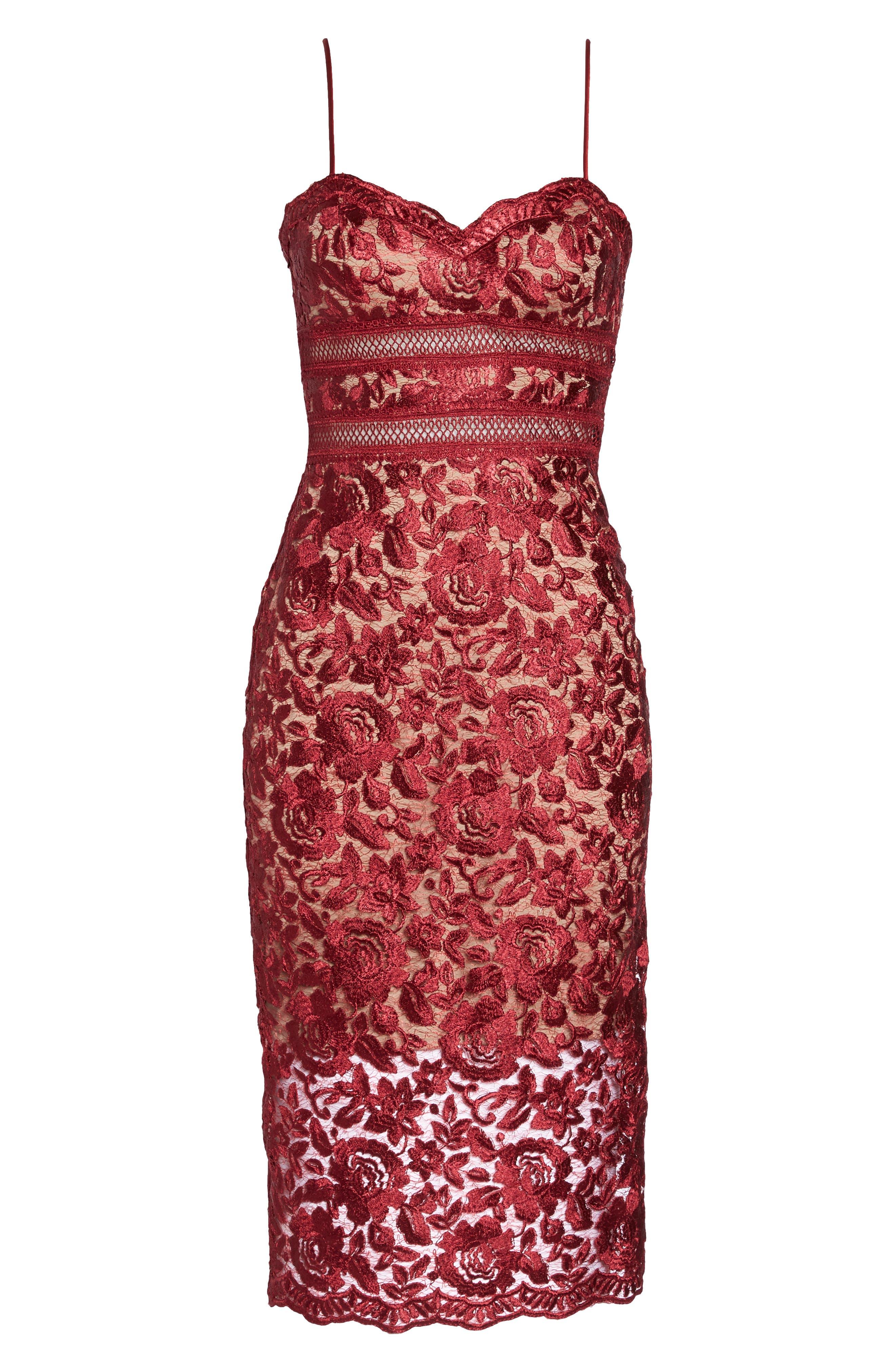 Lace Midi Dress,                             Alternate thumbnail 6, color,                             Red/ Mocha