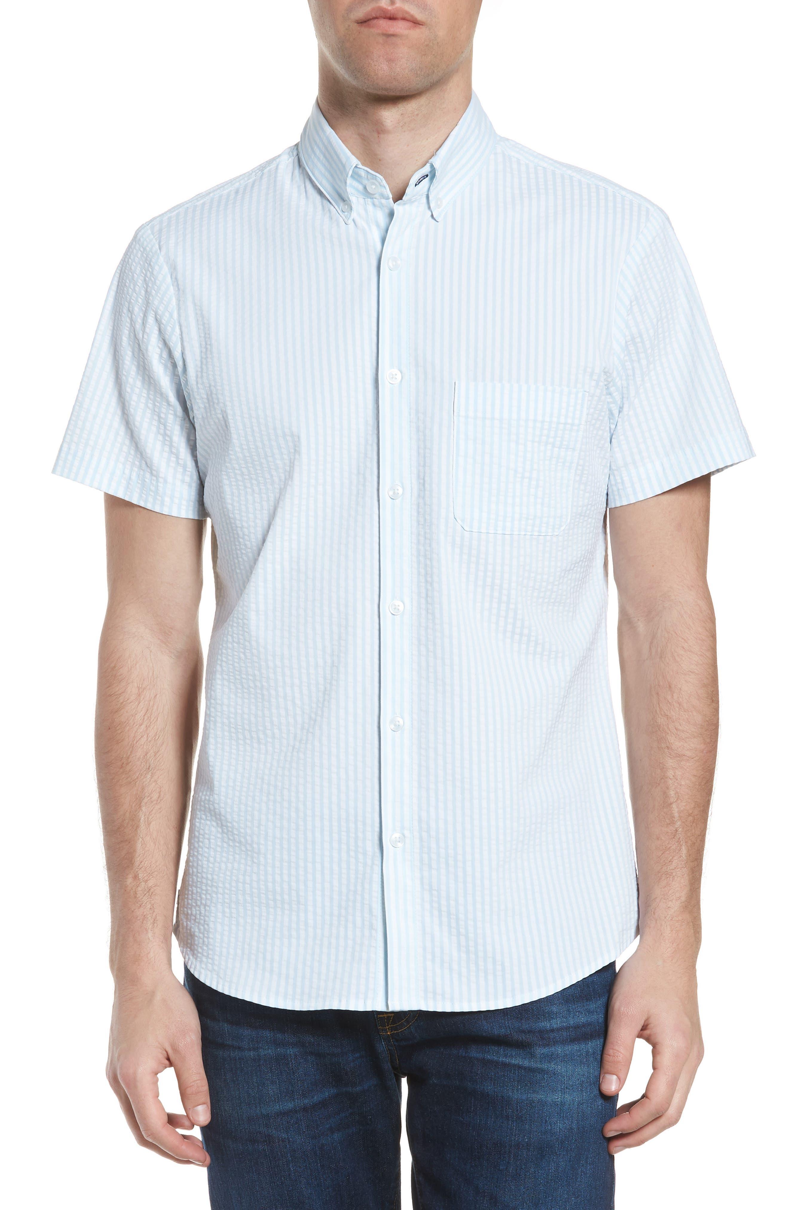 Hartley Seersucker Stripe Performance Sport Shirt,                         Main,                         color, Blue