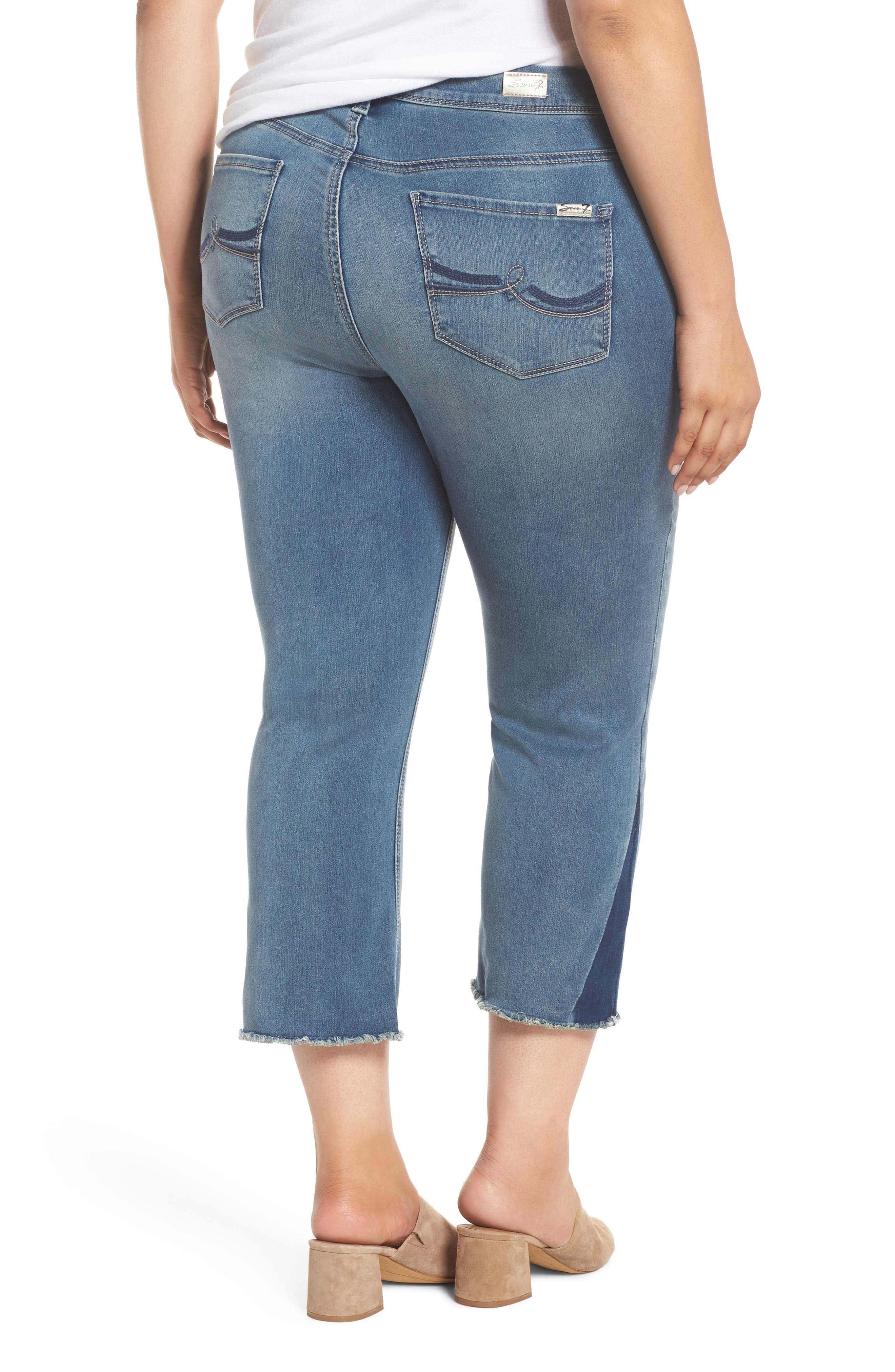 Shadow Godet Ankle Duster Jeans,                             Alternate thumbnail 2, color,                             Levine
