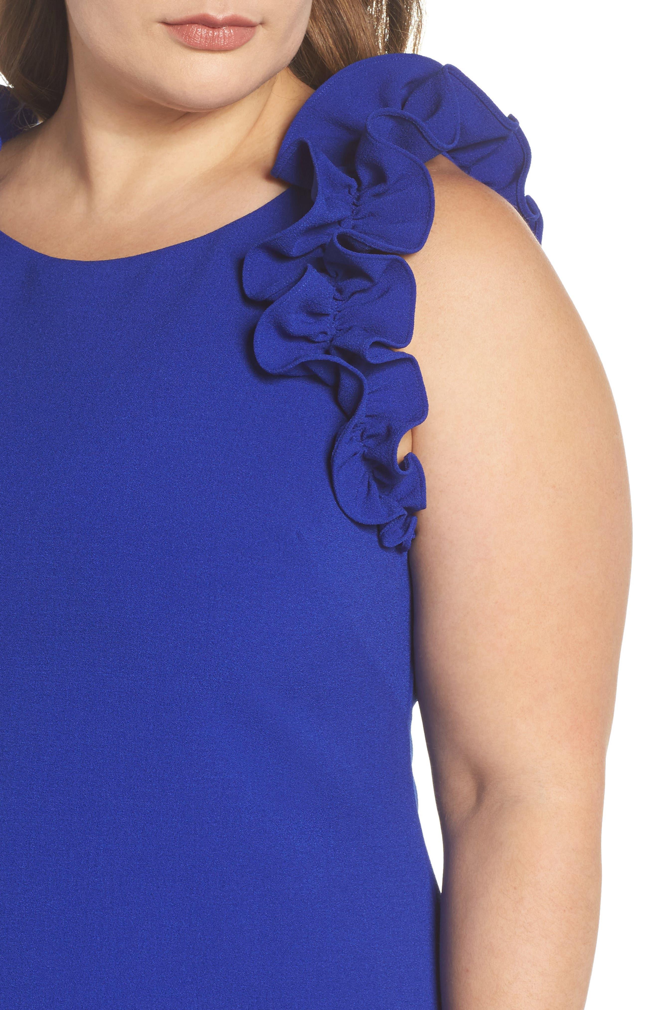 Ruffle Shoulder Crepe Shift Dress,                             Alternate thumbnail 4, color,                             Blue Surf
