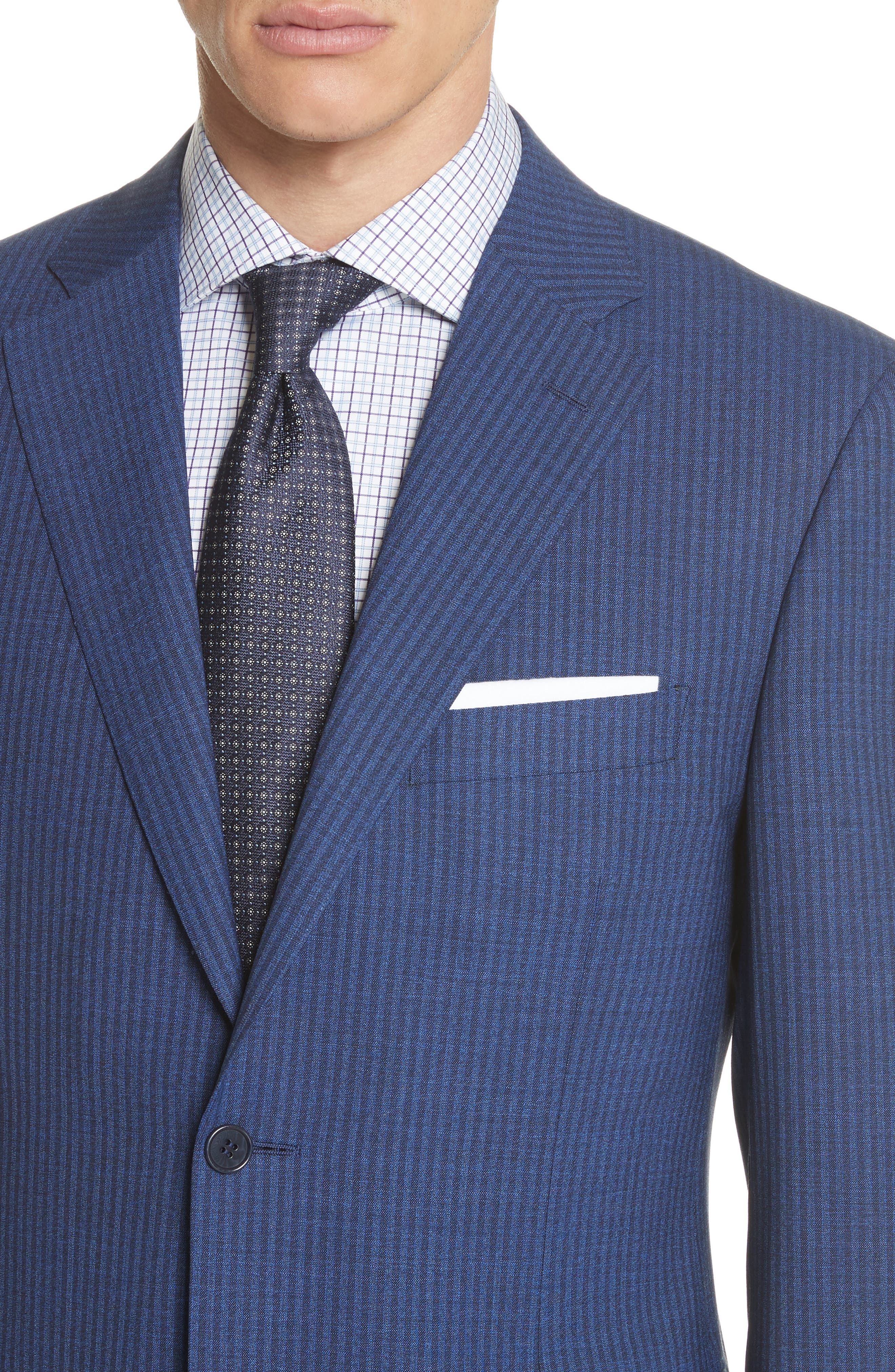 Classic Fit Shadow Stripe Wool Suit,                             Alternate thumbnail 4, color,                             Navy