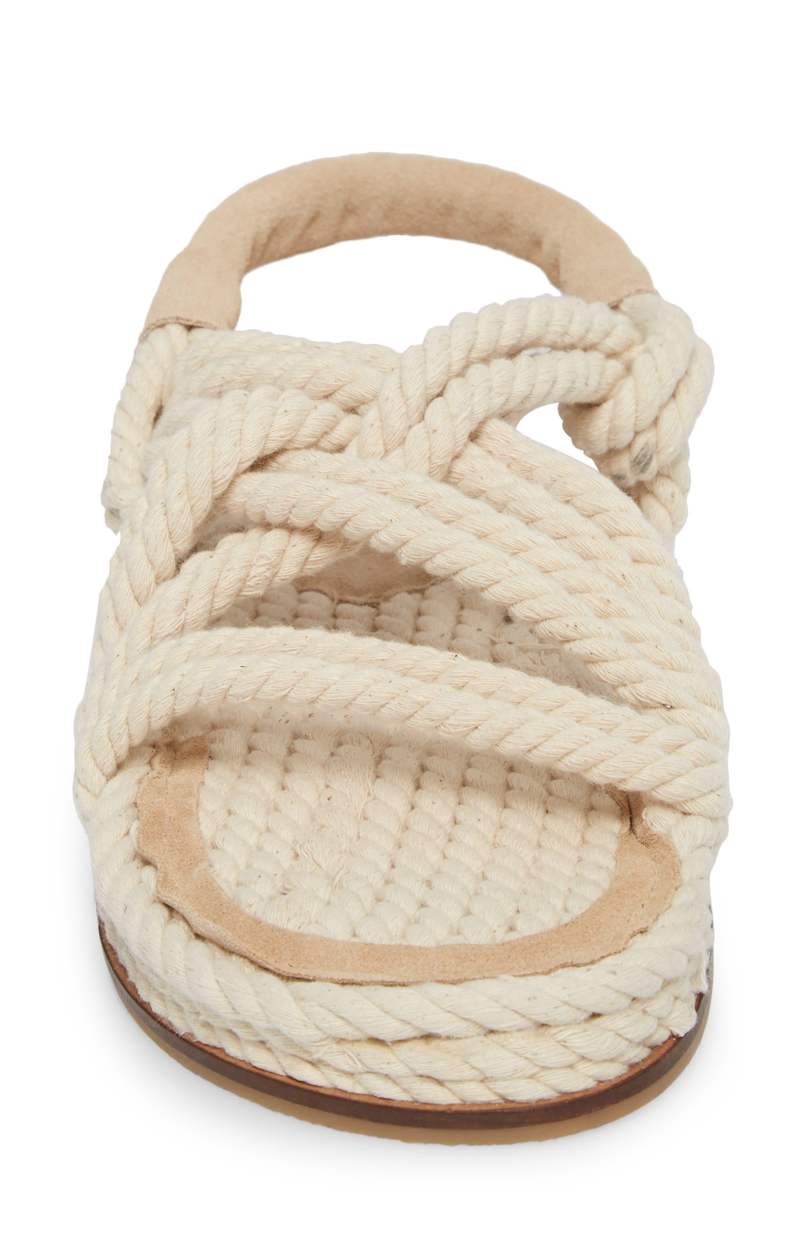 Fiesta Rope Flat Sandal,                             Alternate thumbnail 4, color,                             Nude