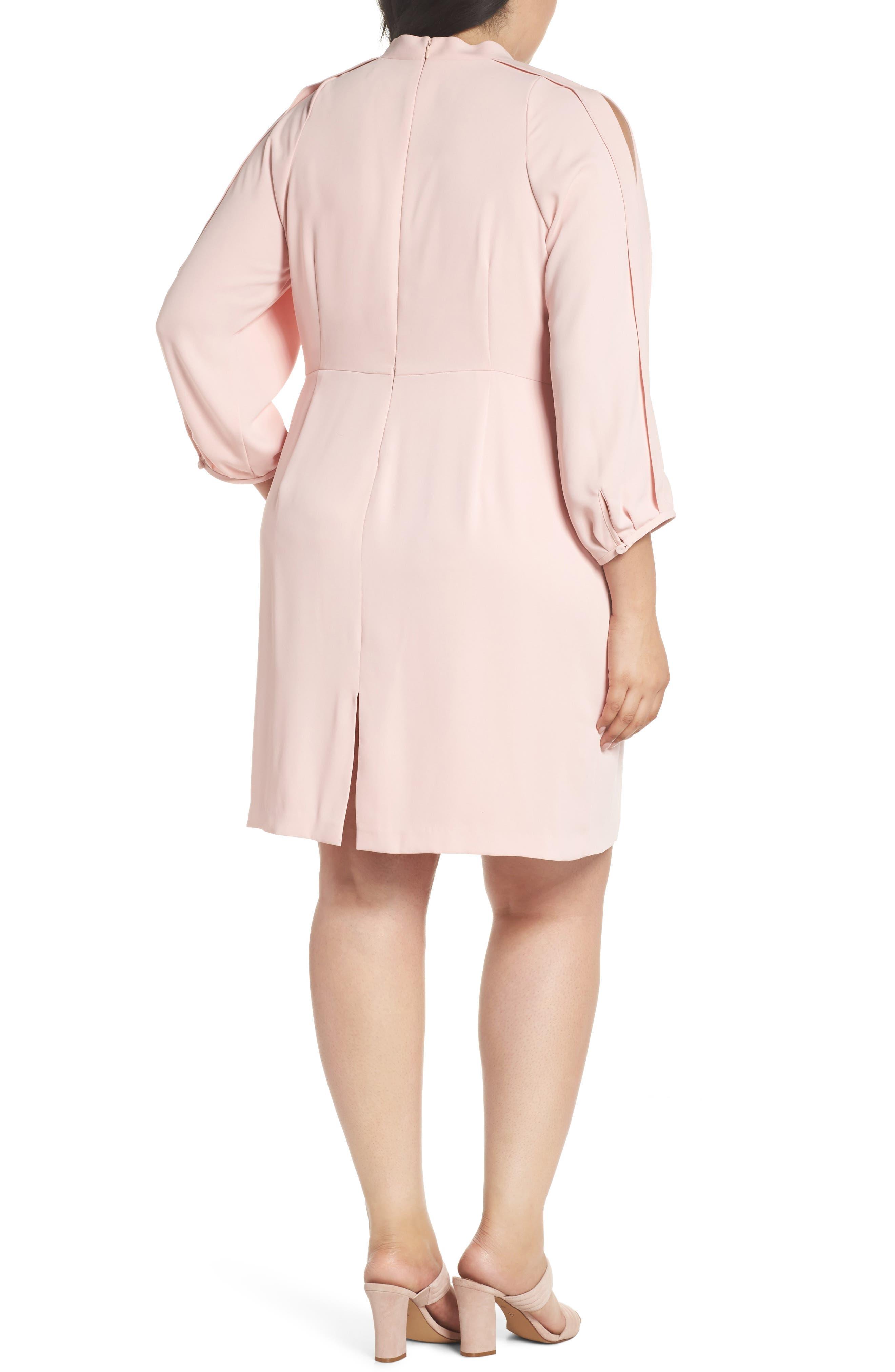 Mock Neck Split Sleeve Dress,                             Alternate thumbnail 2, color,                             Pink Primrose