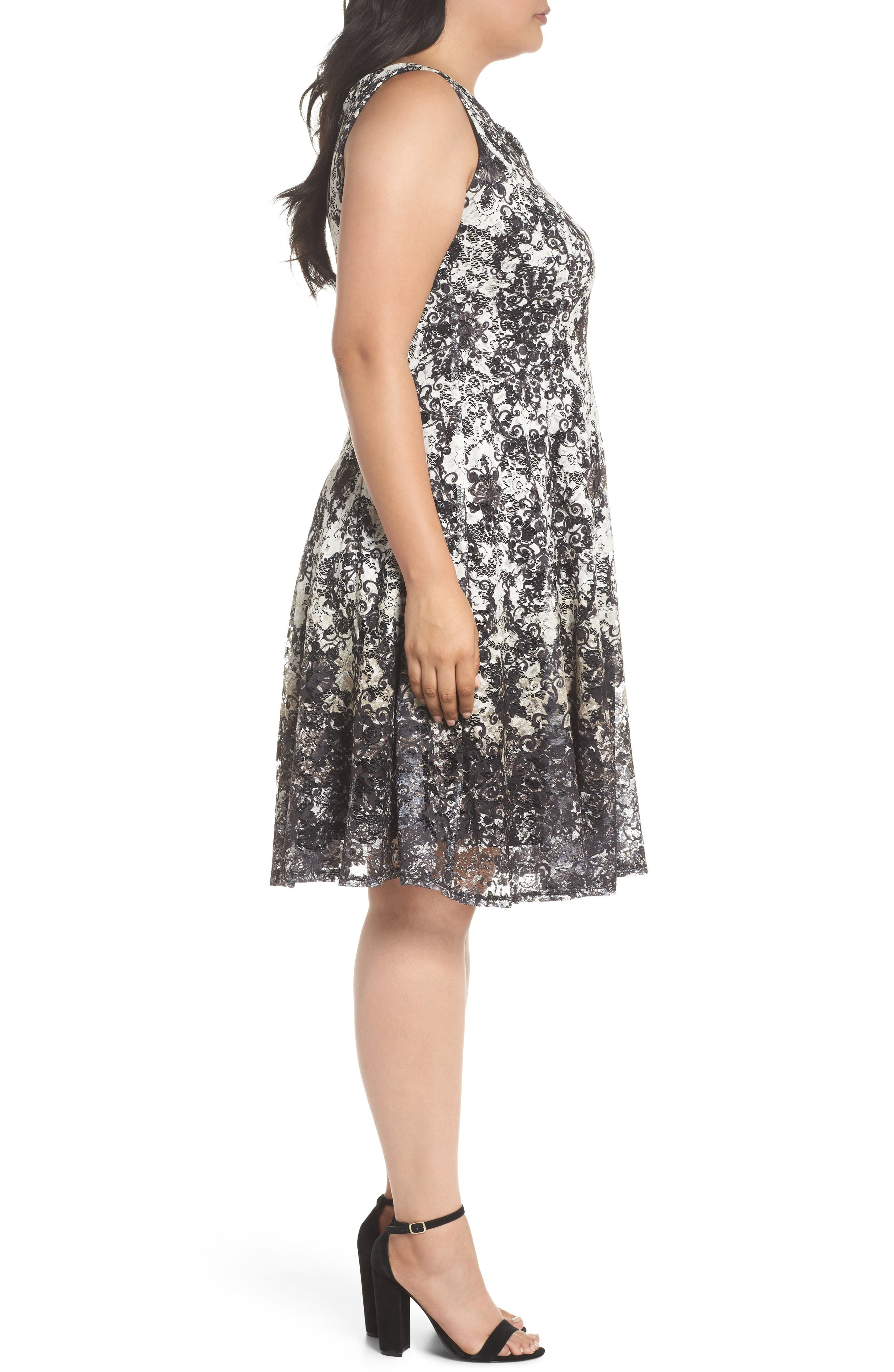 Printed Lace Fit & Flare Dress,                             Alternate thumbnail 3, color,                             Ivory/ Black