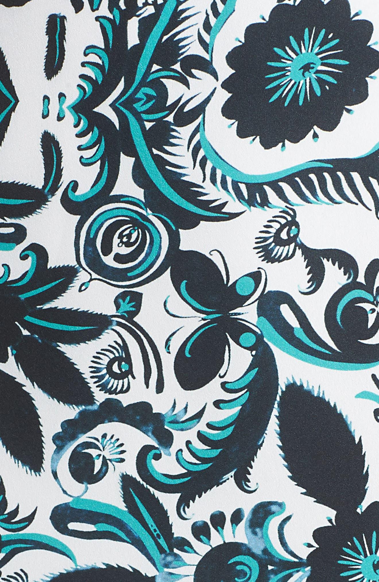 Scottie Fit & Flare Dress,                             Alternate thumbnail 5, color,                             White Multi