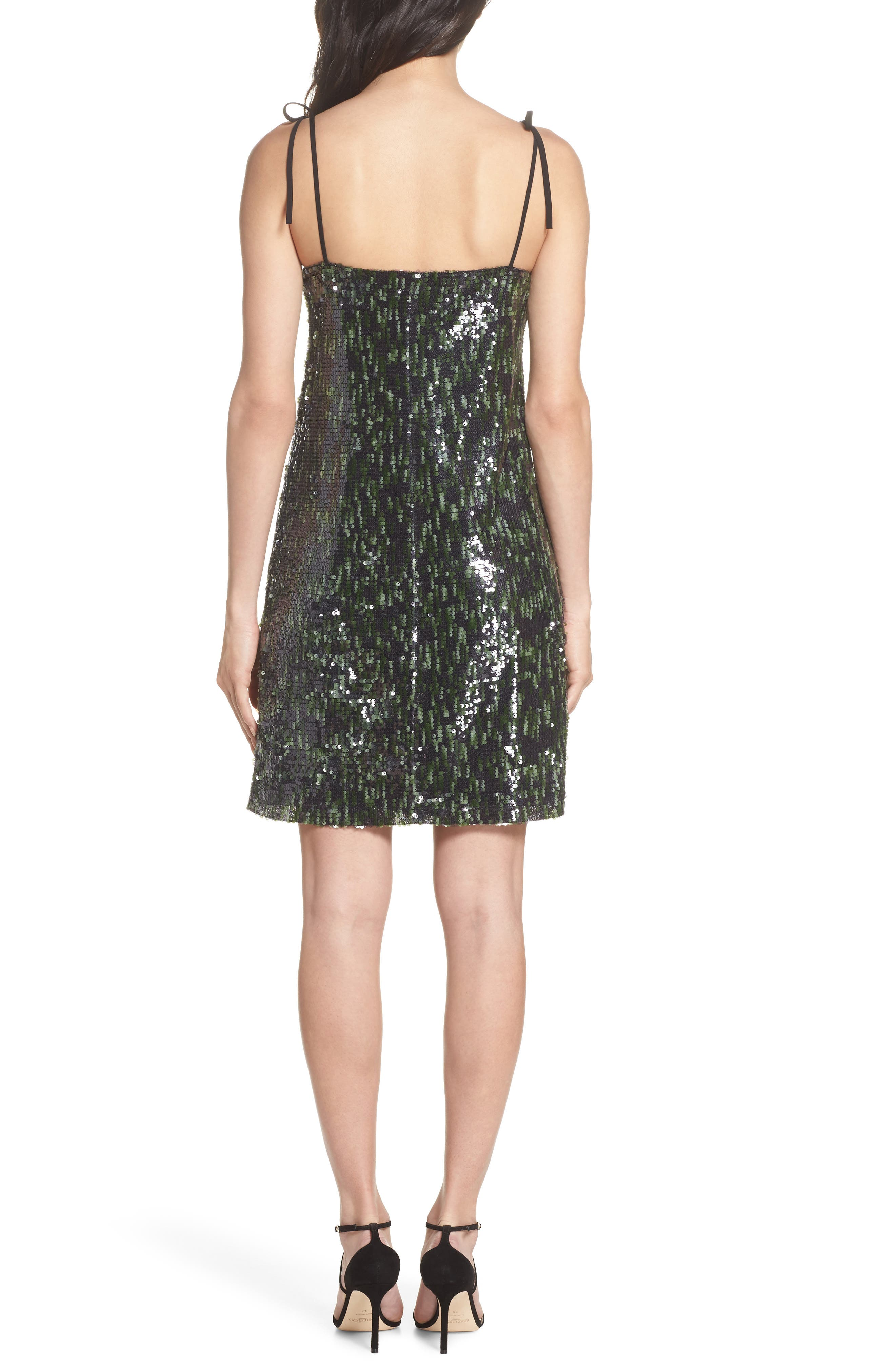 Camo Sequin Dress,                             Alternate thumbnail 2, color,                             Black/ Green