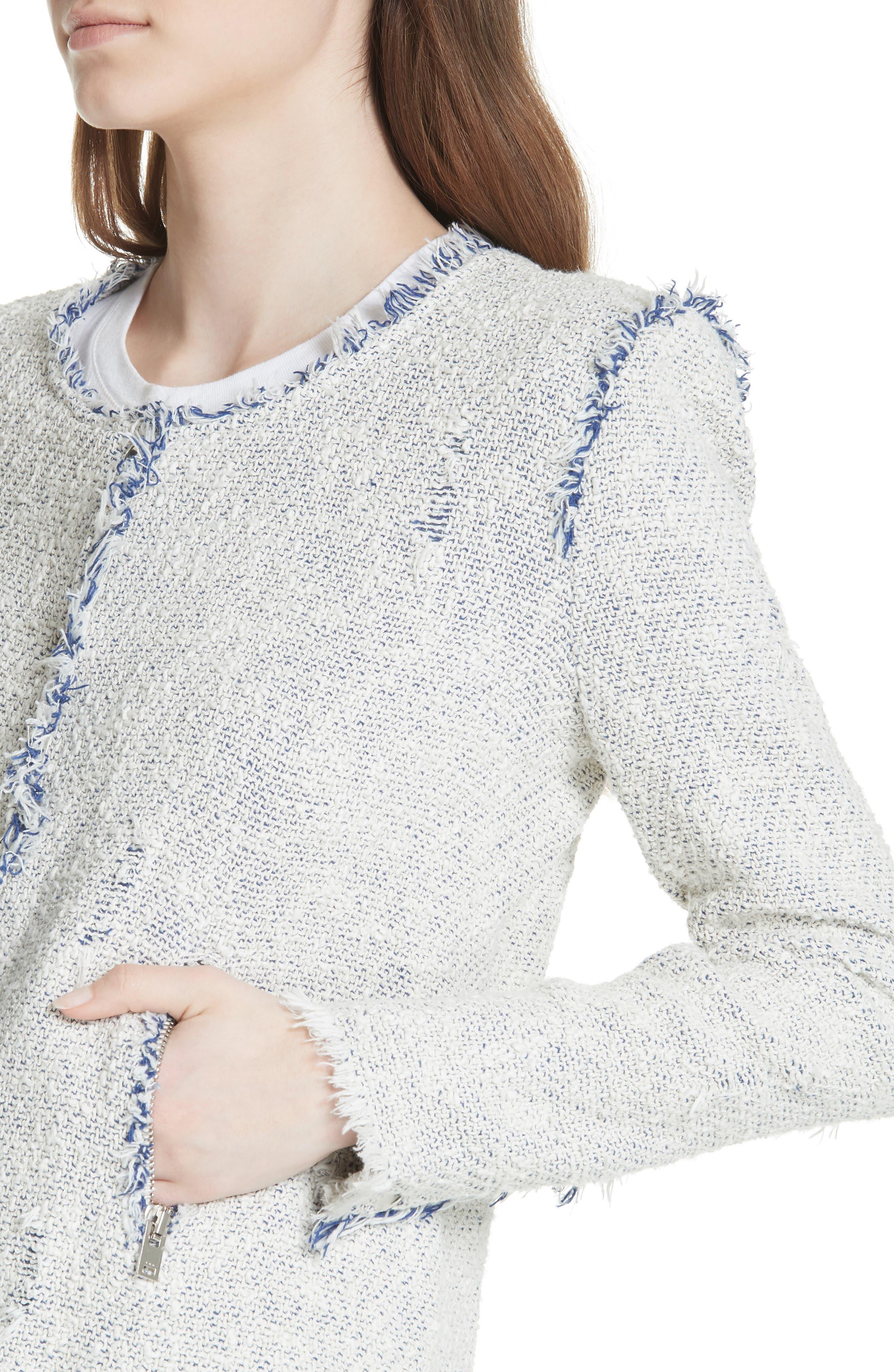 'Agnette' Tweed Jacket,                             Alternate thumbnail 4, color,                             White/ Blue