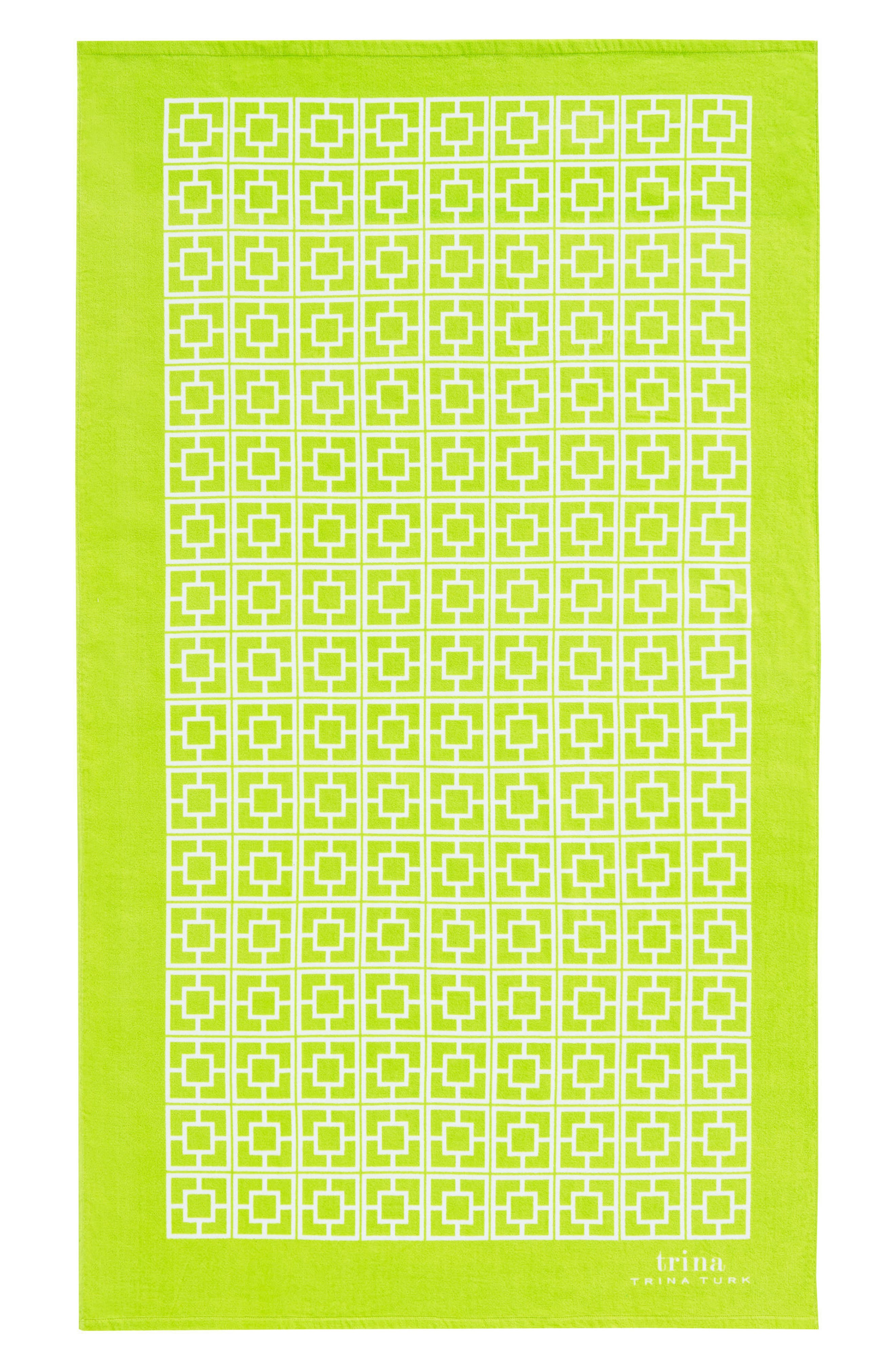 Palm Spring Block Beach Towel,                             Main thumbnail 1, color,                             Lime