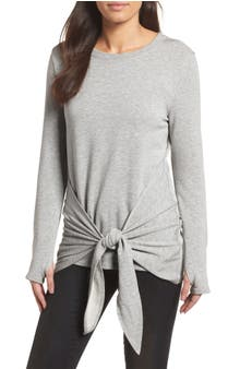 Caslon® Off-Duty Tie Front Sweatshirt