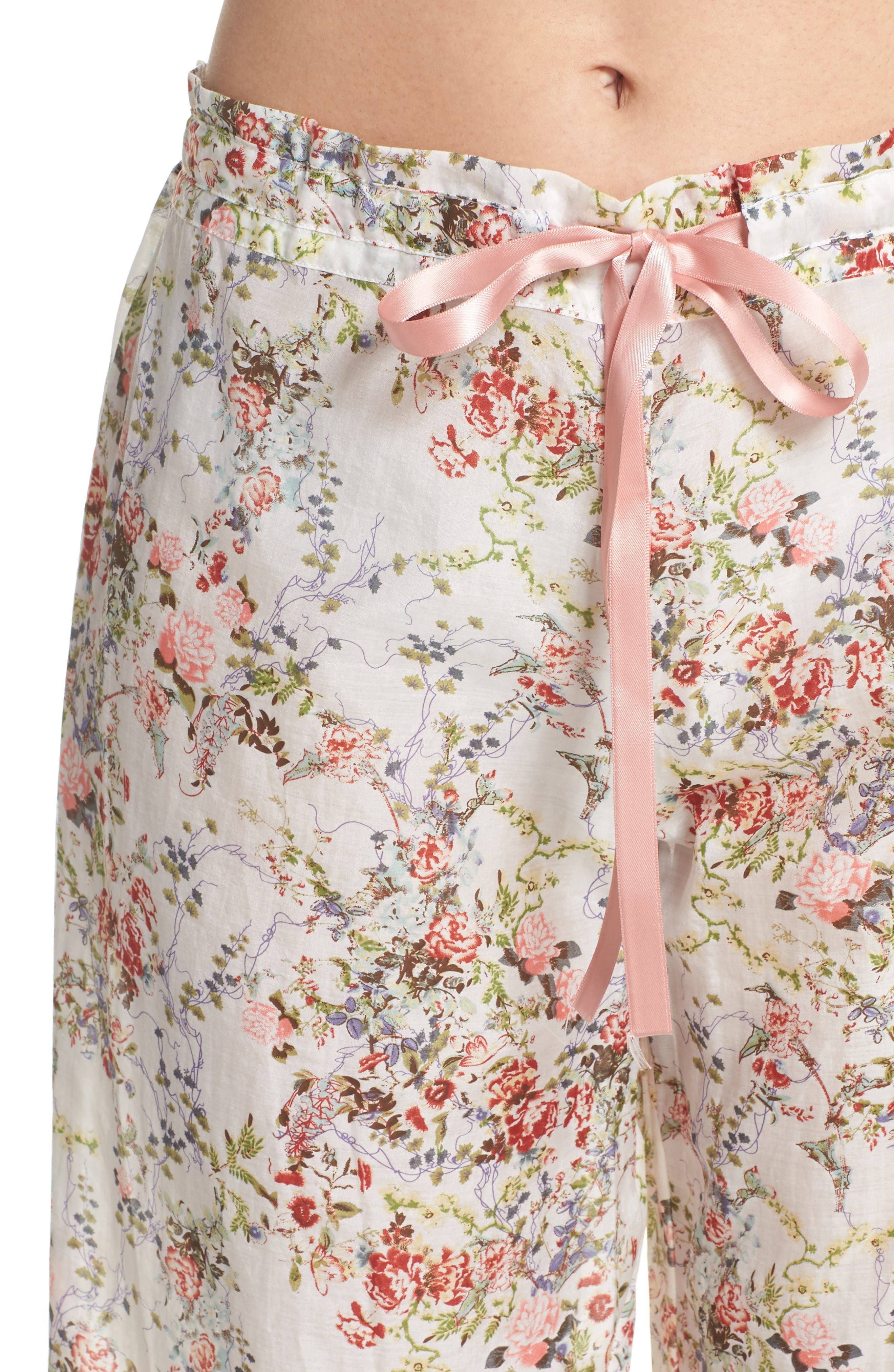 Yolly Floral Cotton & Silk Pajamas,                             Alternate thumbnail 4, color,                             Ivory Floral