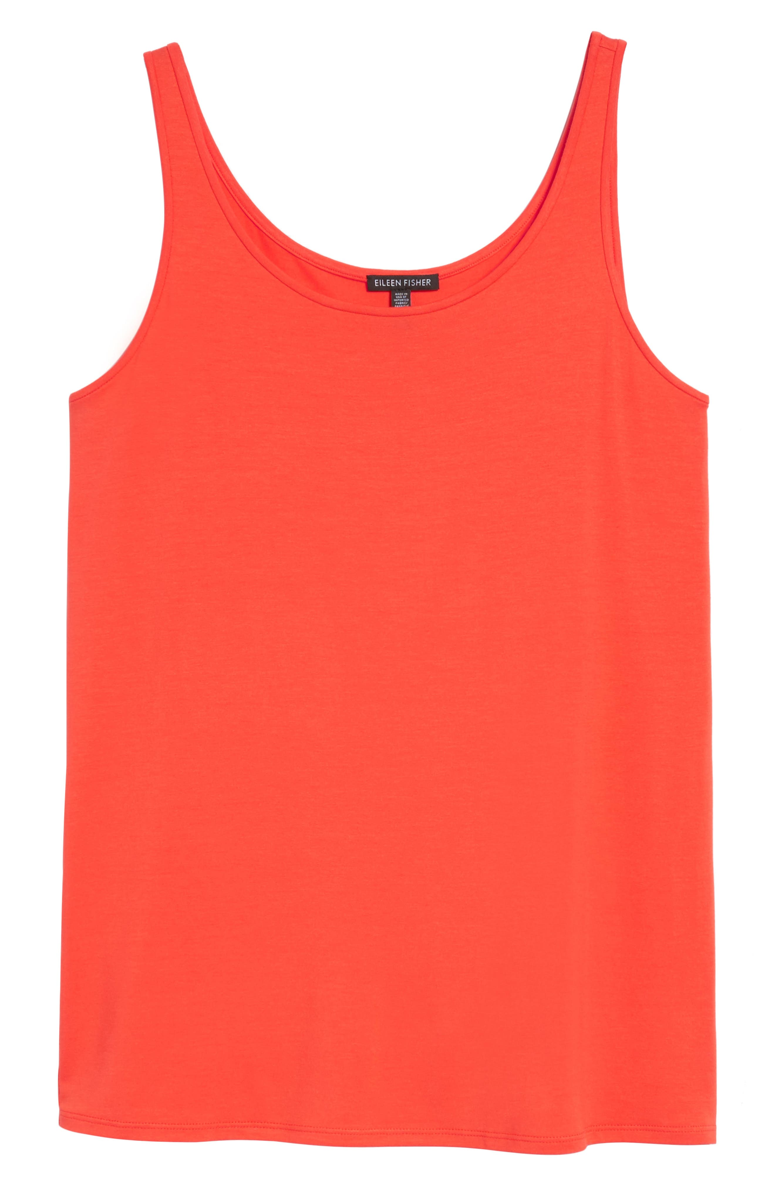 Jersey Scoop Neck Long Tank,                             Alternate thumbnail 6, color,                             Hot Red