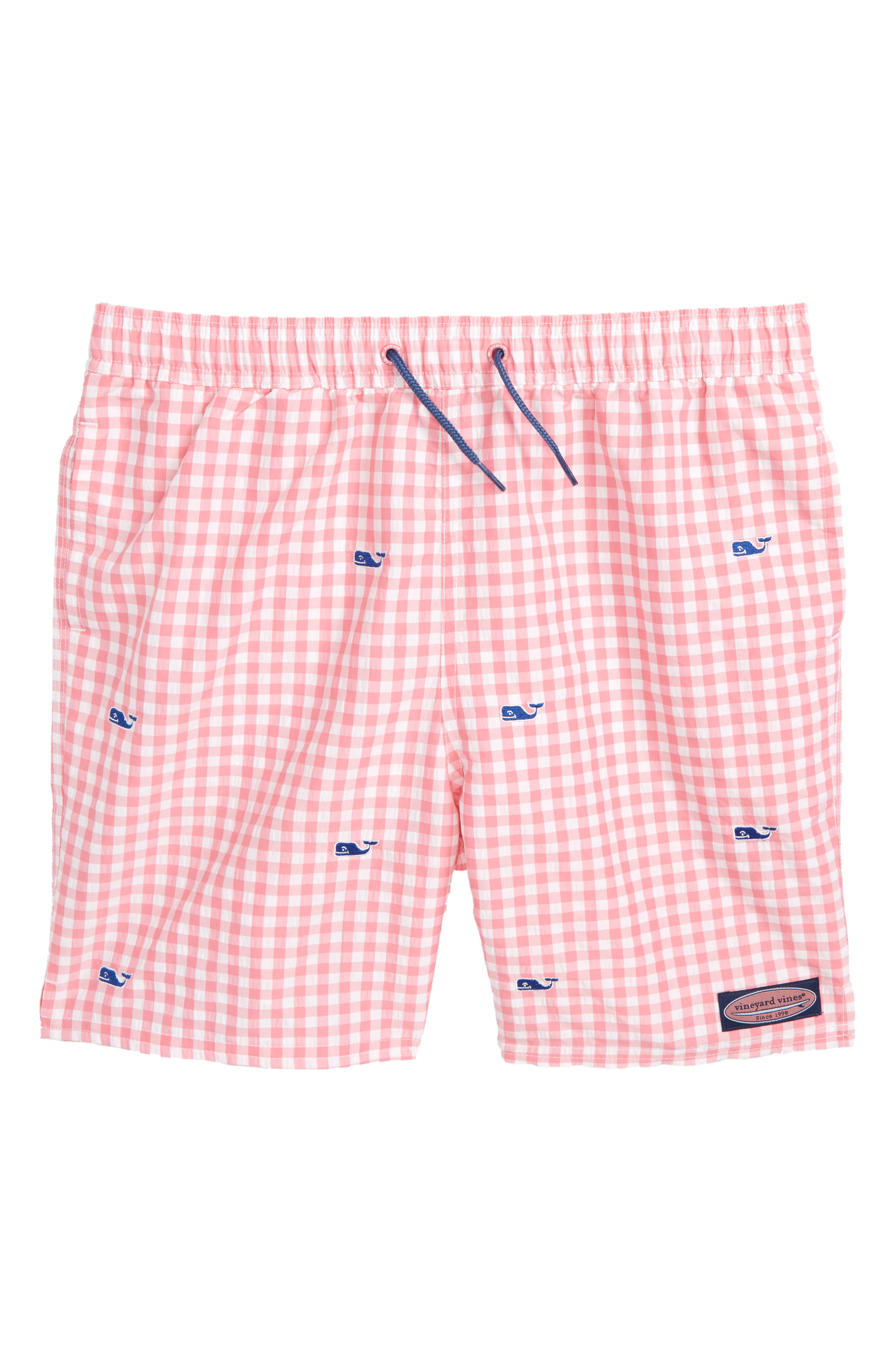 Embroidered Micro Gingham Check Swim Trunks,                         Main,                         color, Bahama Breeze