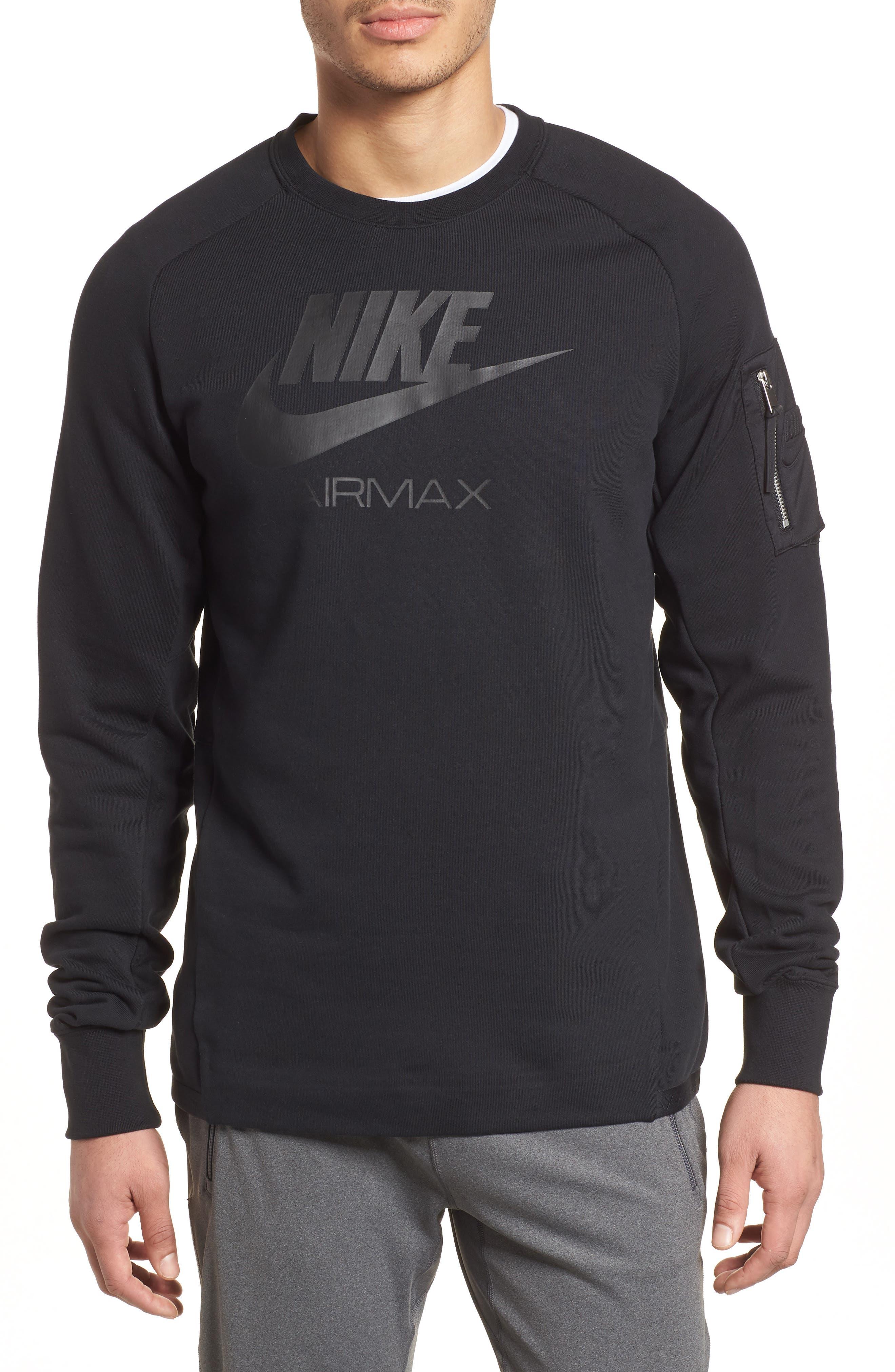 NSW Air Max Crewneck Sweatshirt,                             Main thumbnail 1, color,                             Black/ Black/ Black