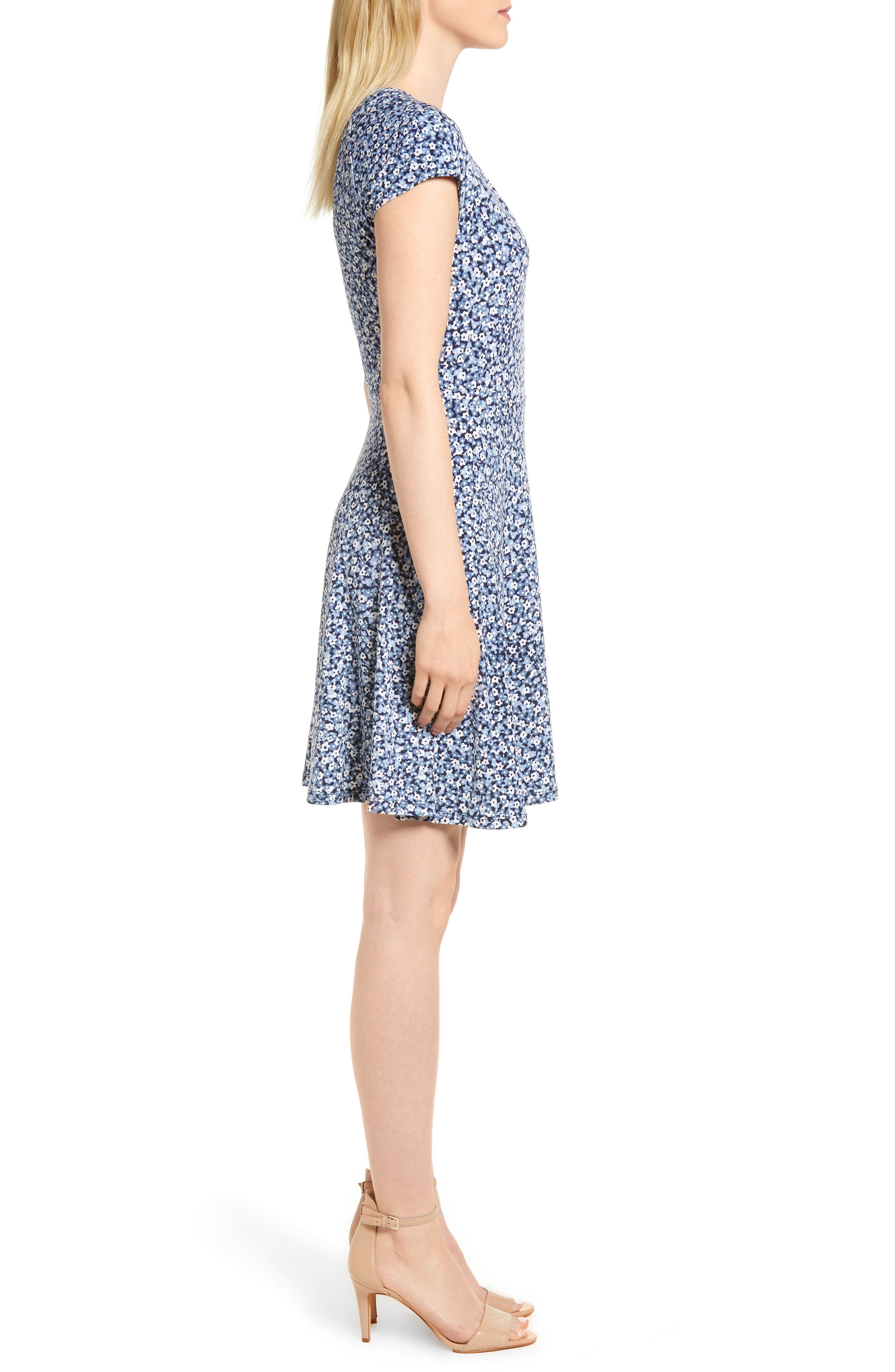 Collage Floral Double Keyhole Dress,                             Alternate thumbnail 3, color,                             True Navy/ Light Chambray