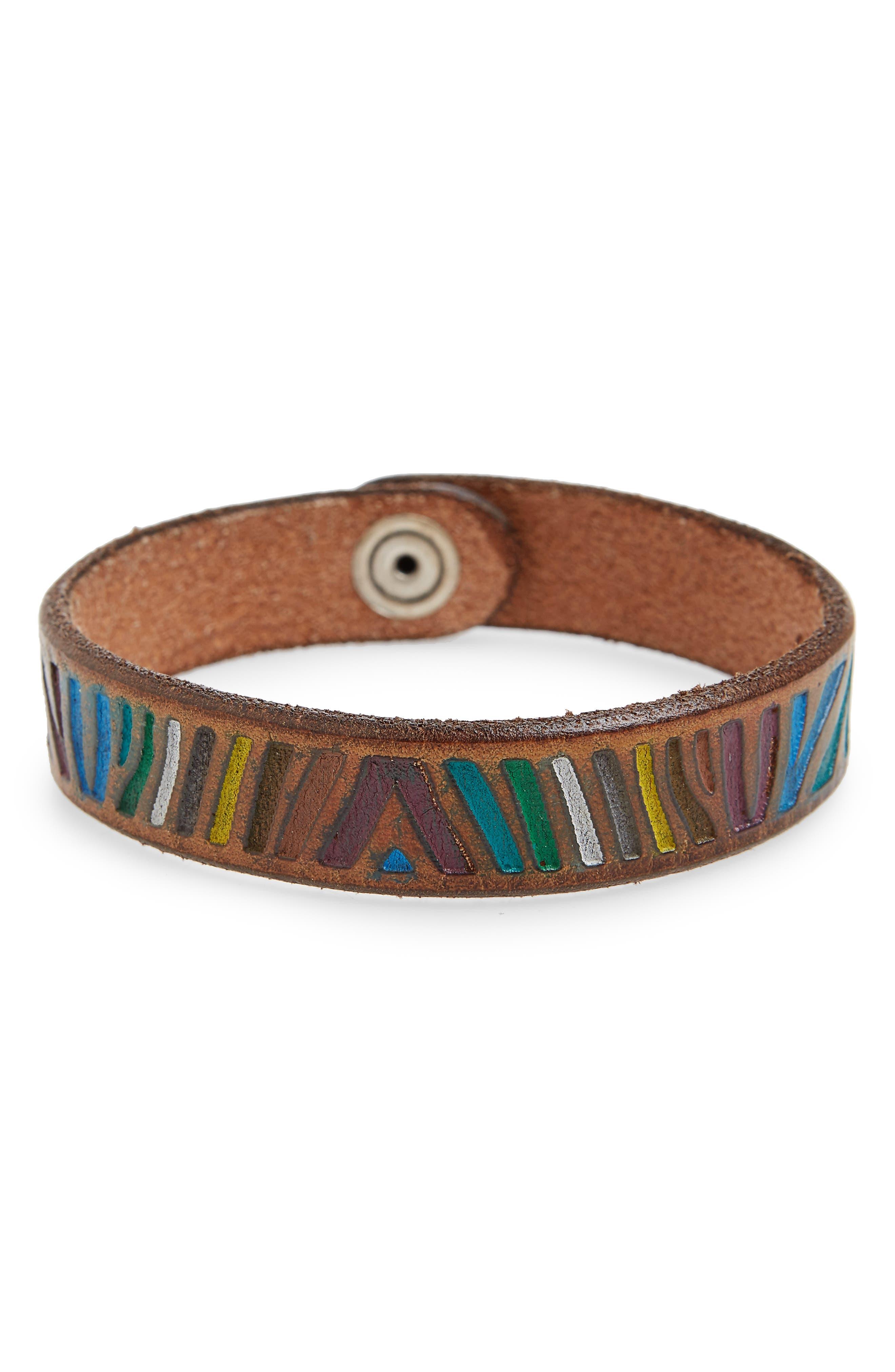 Zebra Leather Bracelet,                             Main thumbnail 1, color,                             Unique