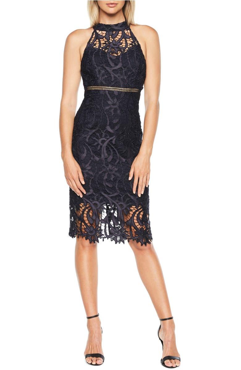 Isa Lace Halter Dress,                         Main,                         color, Twilight