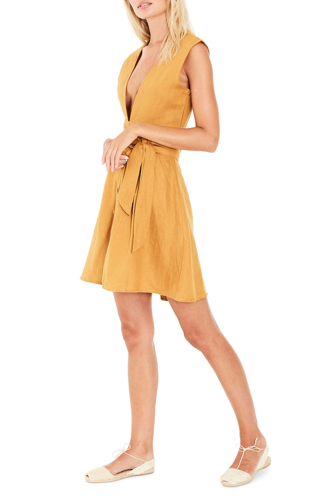 Bari Tie Waist Linen Dress,                             Alternate thumbnail 3, color,                             Plain Marigold