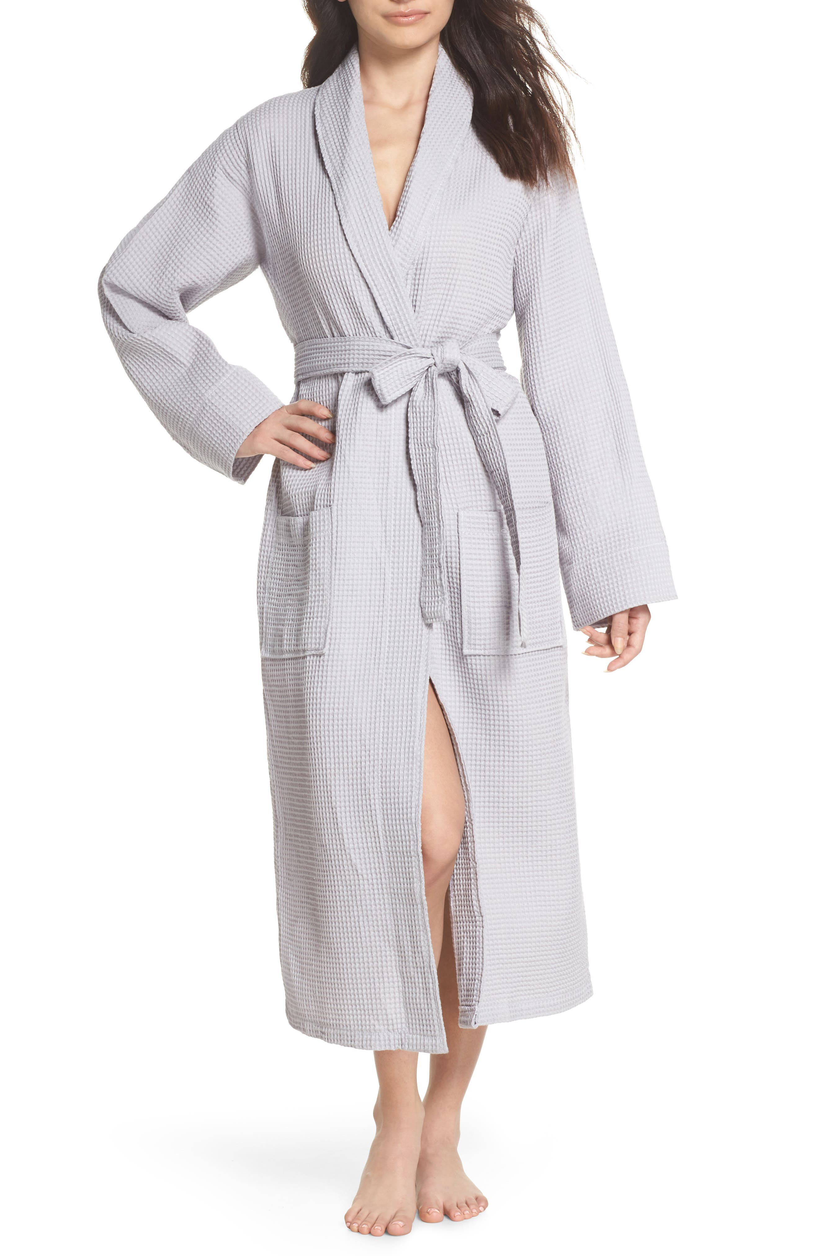 Waffle Knit Cotton Robe,                             Main thumbnail 1, color,                             Dove Grey