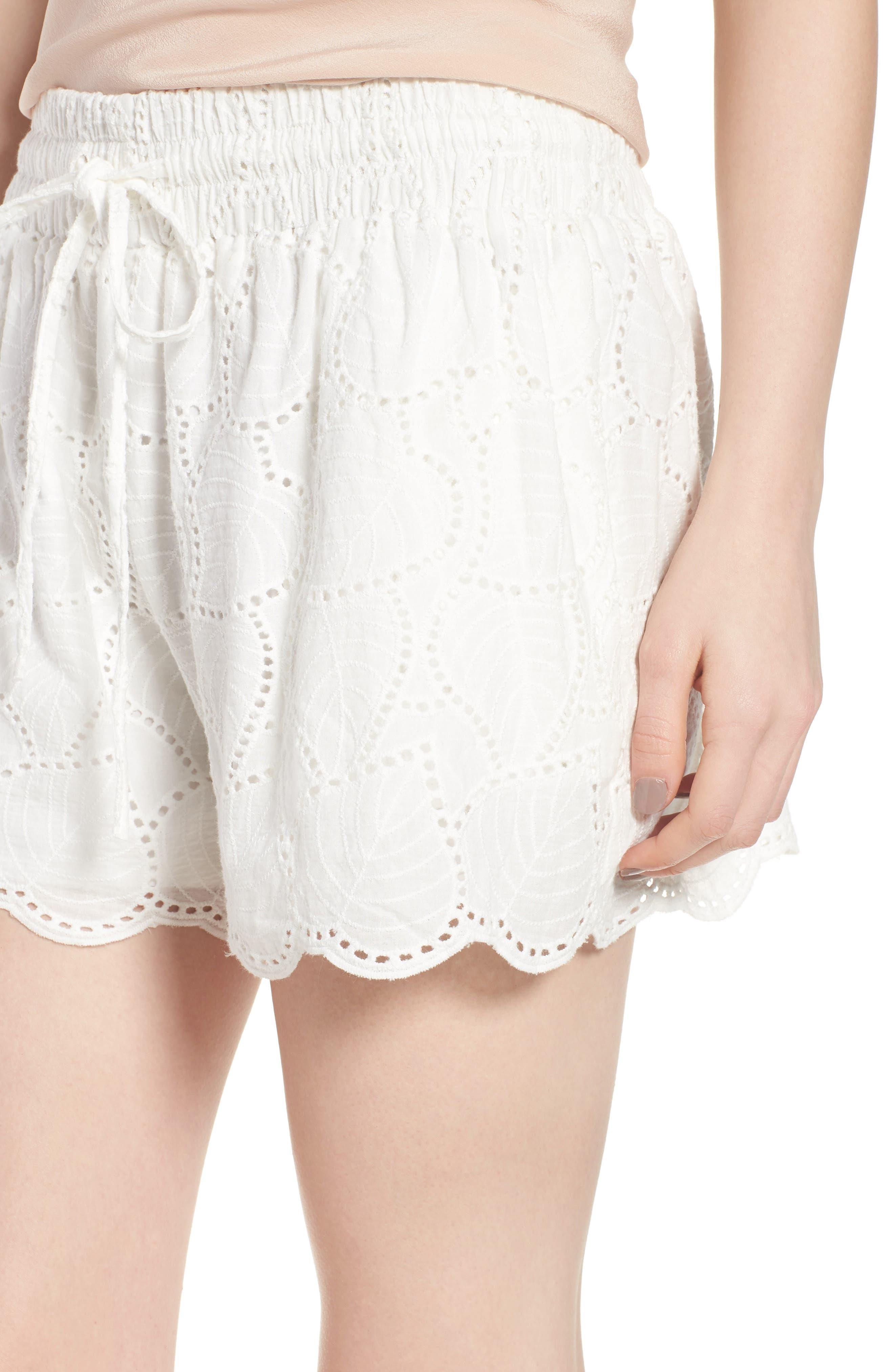 Bishop + Young Eyelet Shorts,                             Alternate thumbnail 4, color,                             White