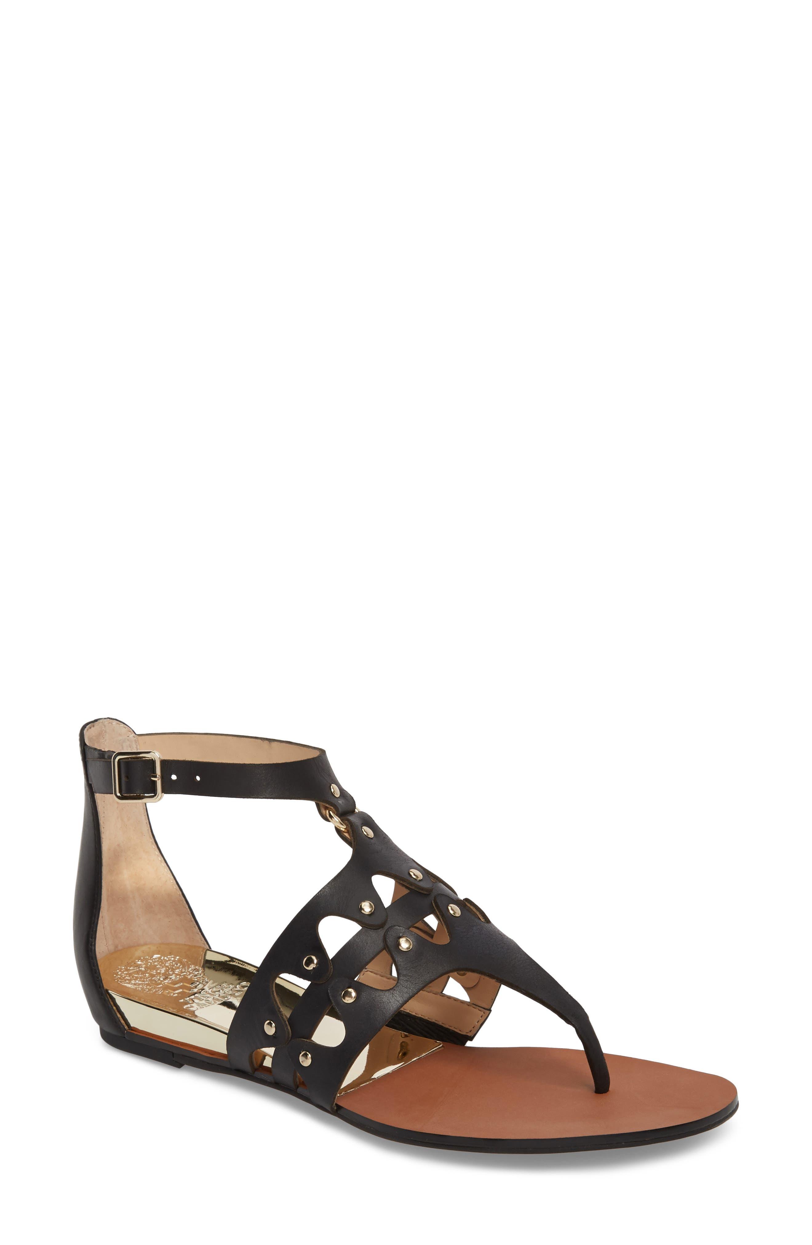 Arlanian Sandal,                         Main,                         color, Black Leather