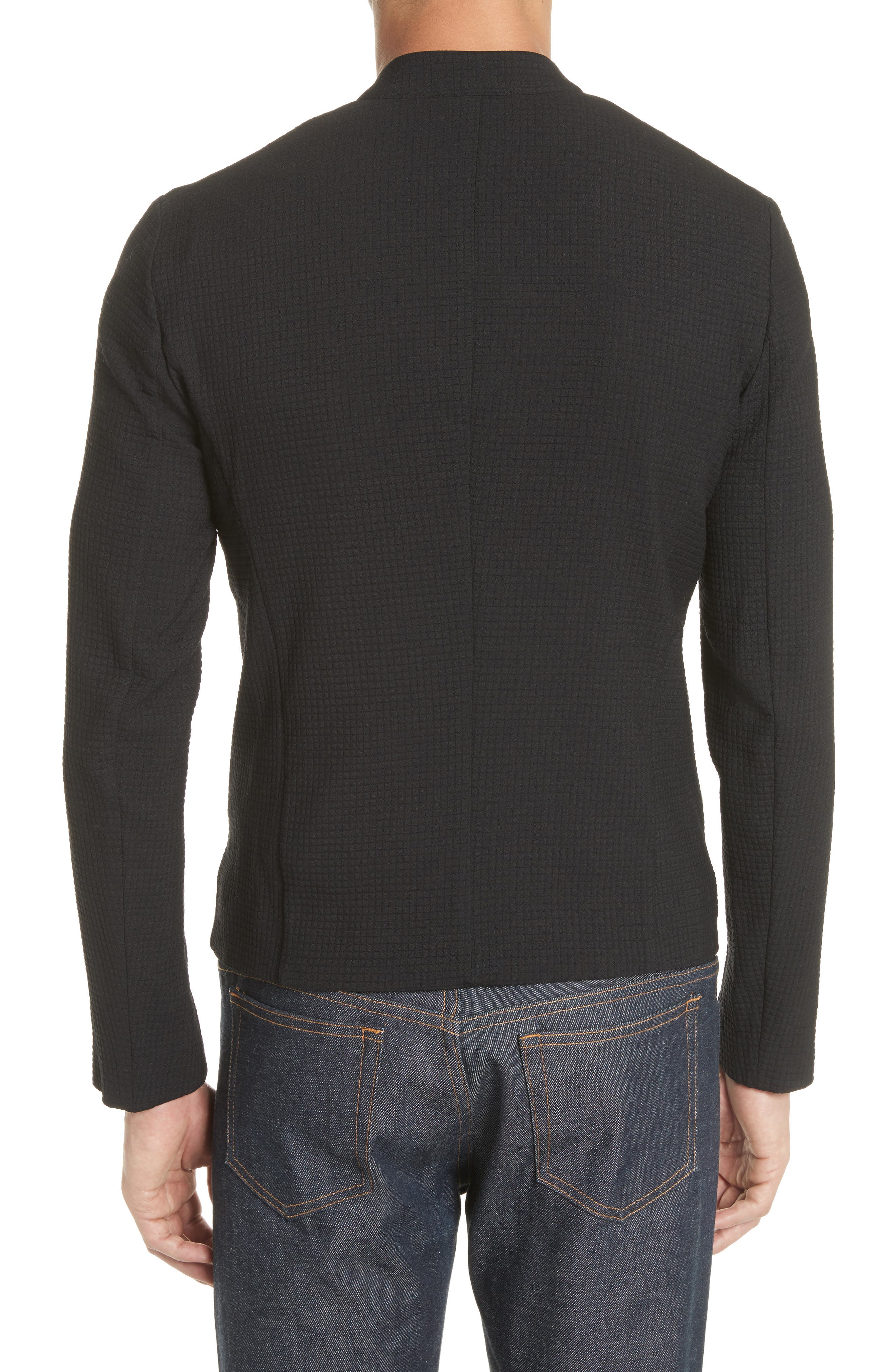 Ripstop Check Wool Blend Jacket,                             Alternate thumbnail 2, color,                             Nero