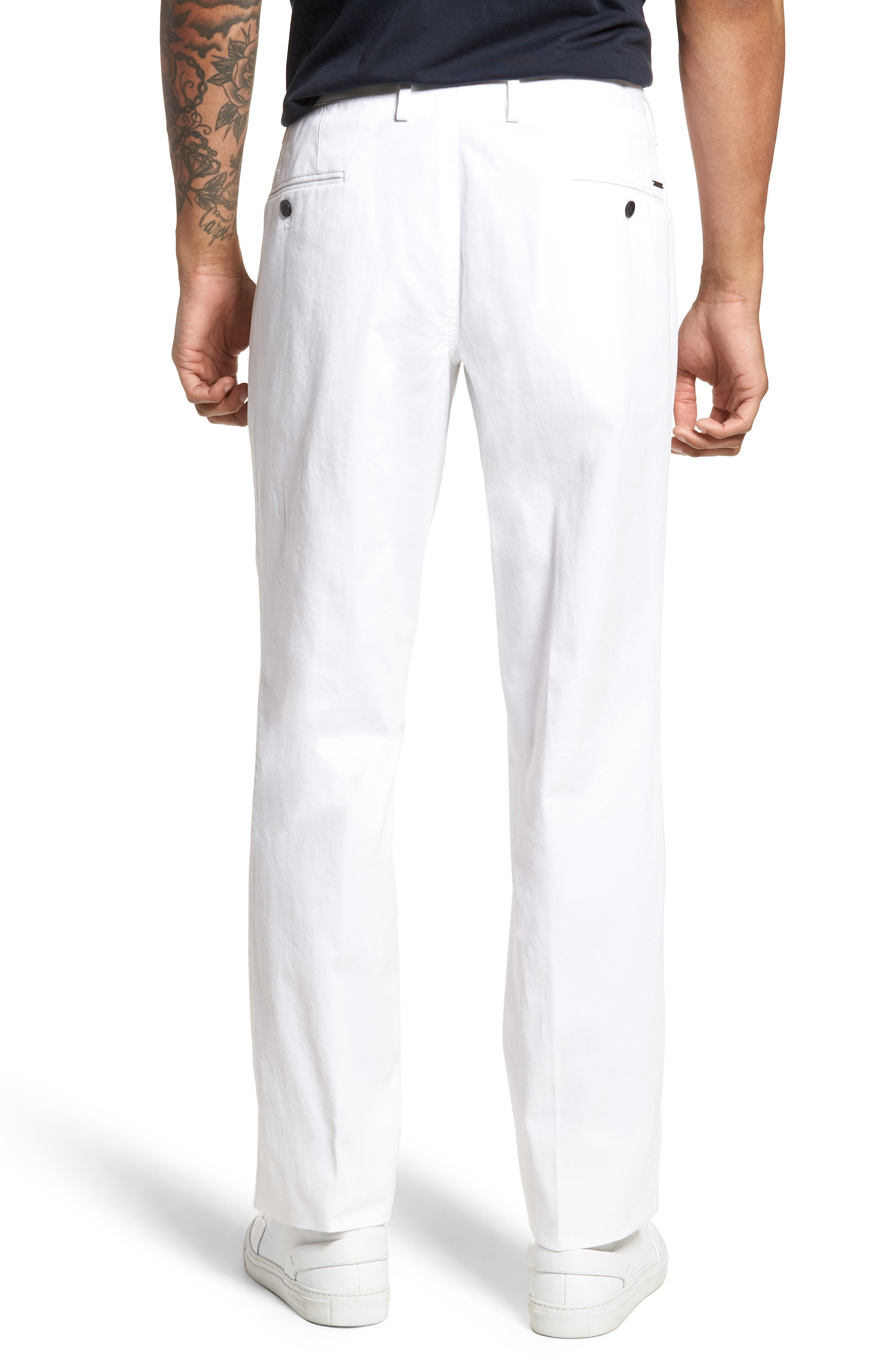 Alternate Image 2  - BOSS Stanino-W Flat Front Stretch Cotton Trousers