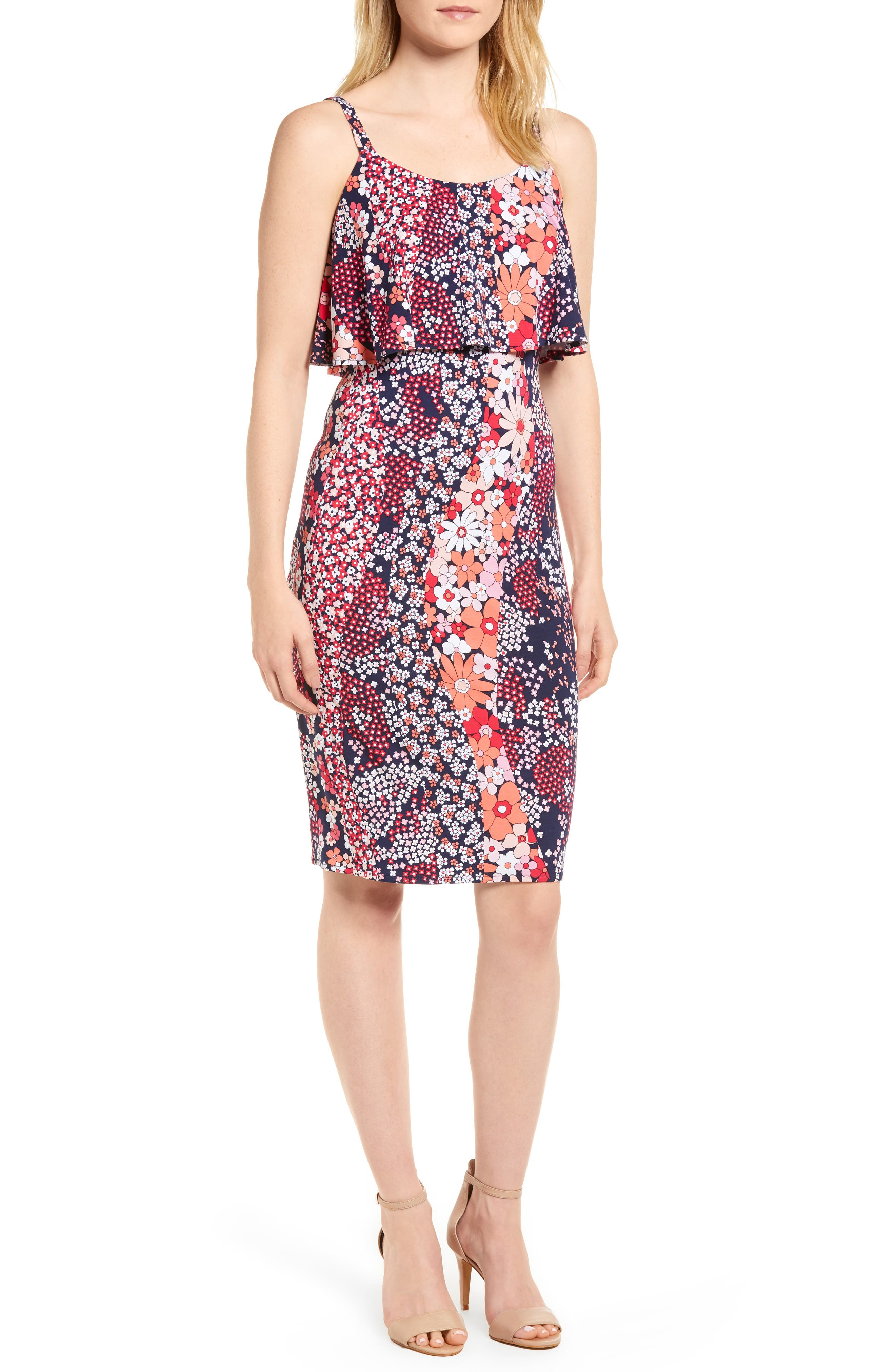 Print Floral Dress,                         Main,                         color, True Navy/ Bright Blush