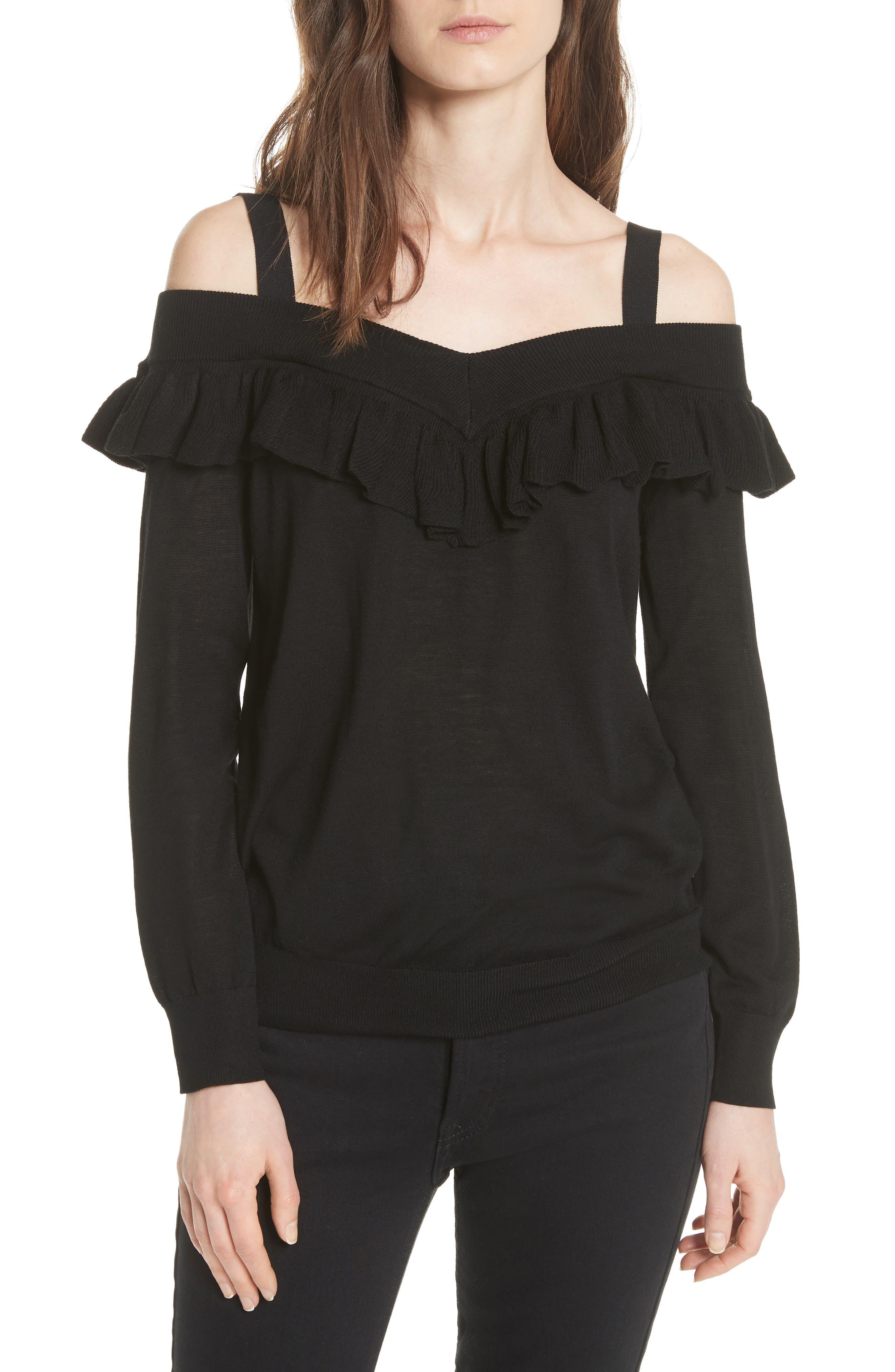 Marais Off the Shoulder Sweater,                         Main,                         color, Black 210