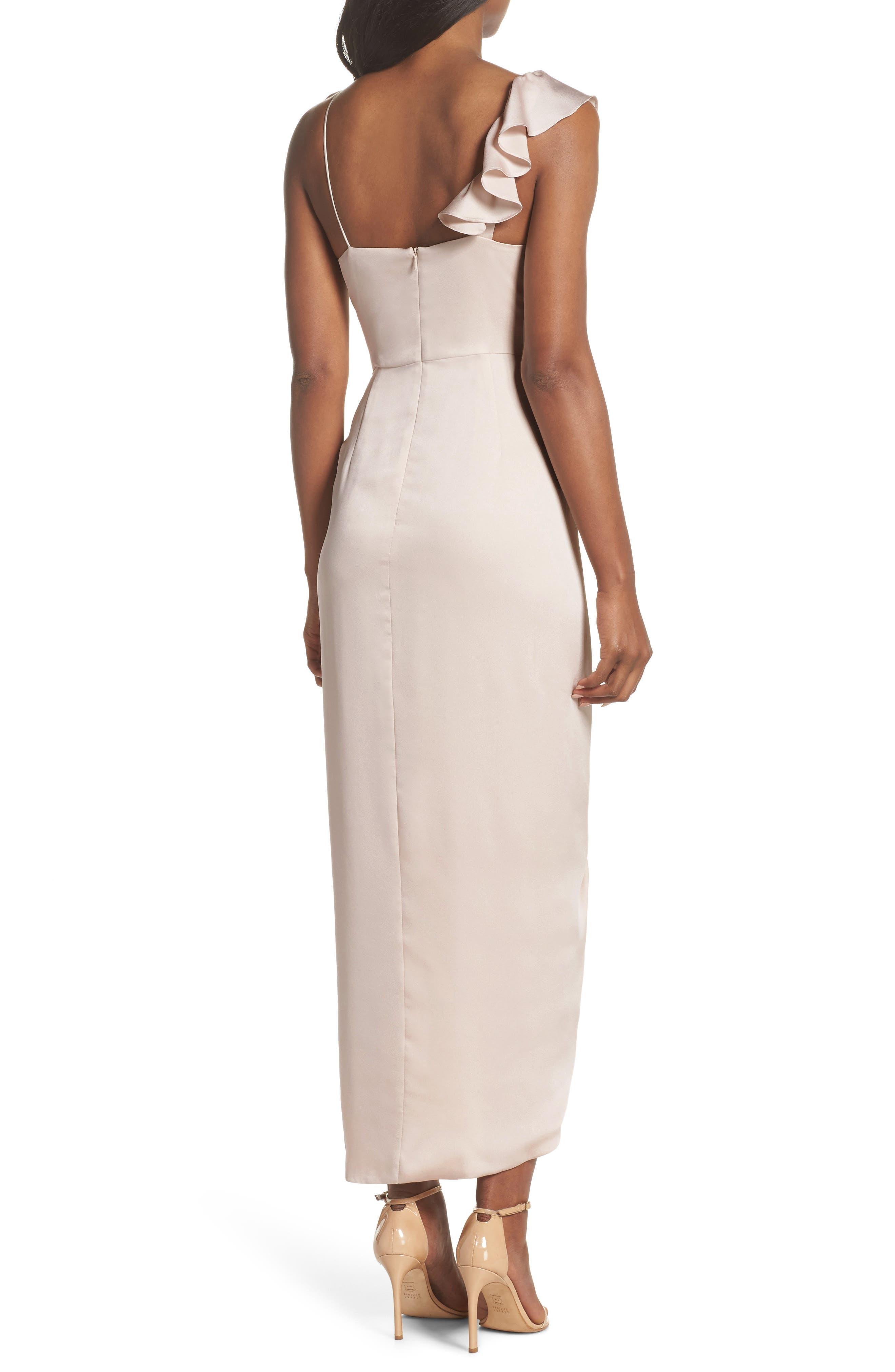 Luxe Asymmetrical Frill Maxi Dress,                             Alternate thumbnail 8, color,                             Porcelain