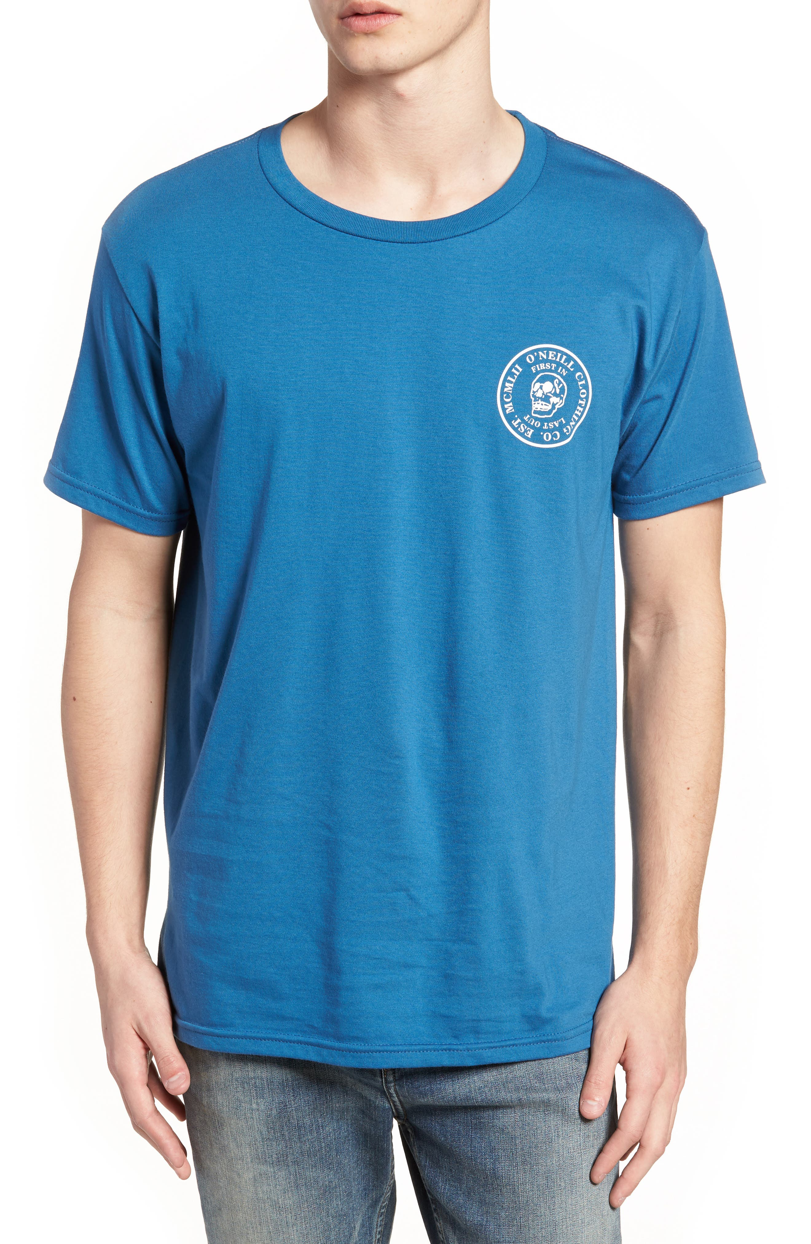 Skully Graphic T-Shirt,                         Main,                         color, Air Force Blue