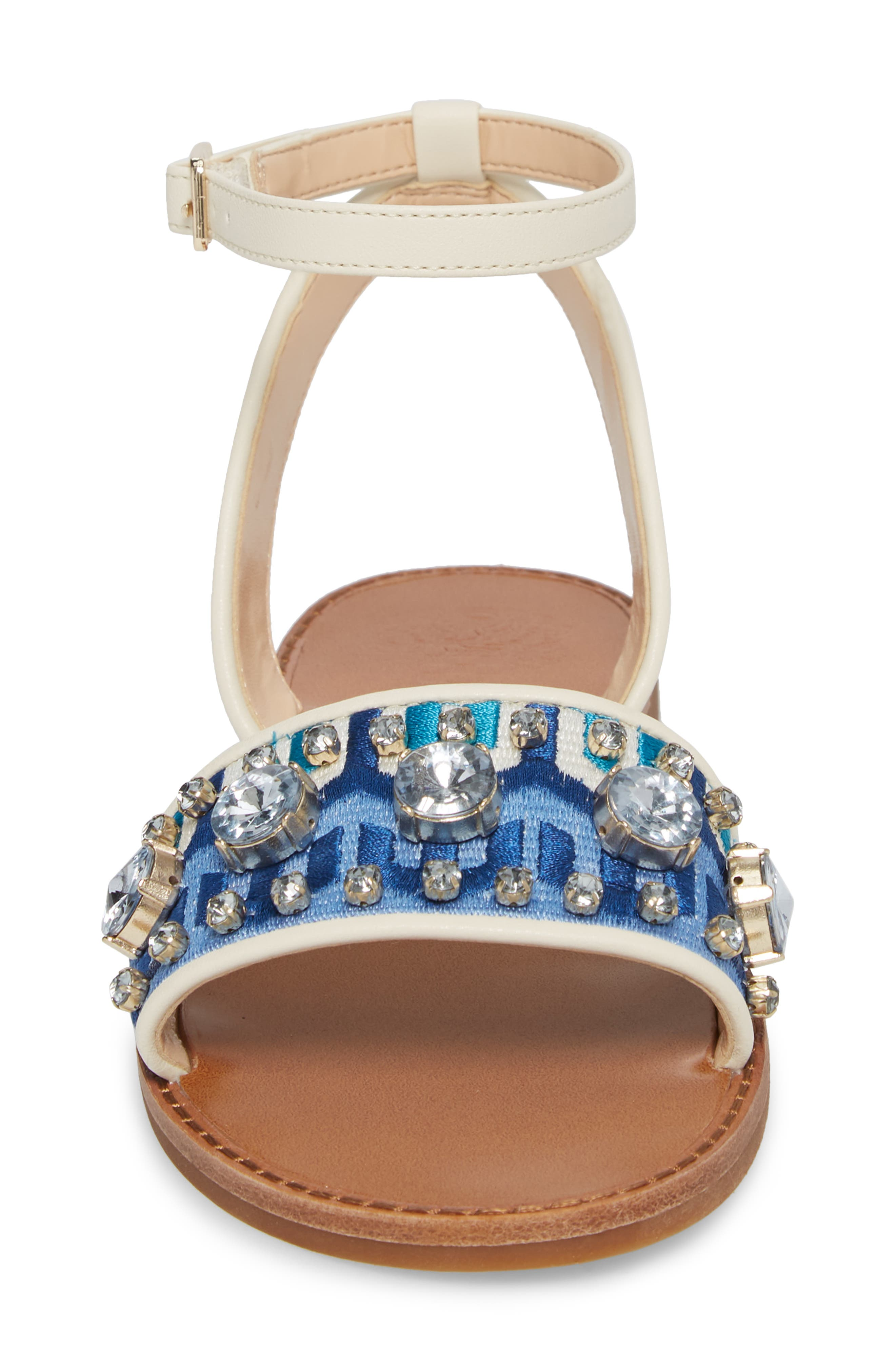 Akitta Sandal,                             Alternate thumbnail 4, color,                             Blue Multi/ Vanilla Fabric