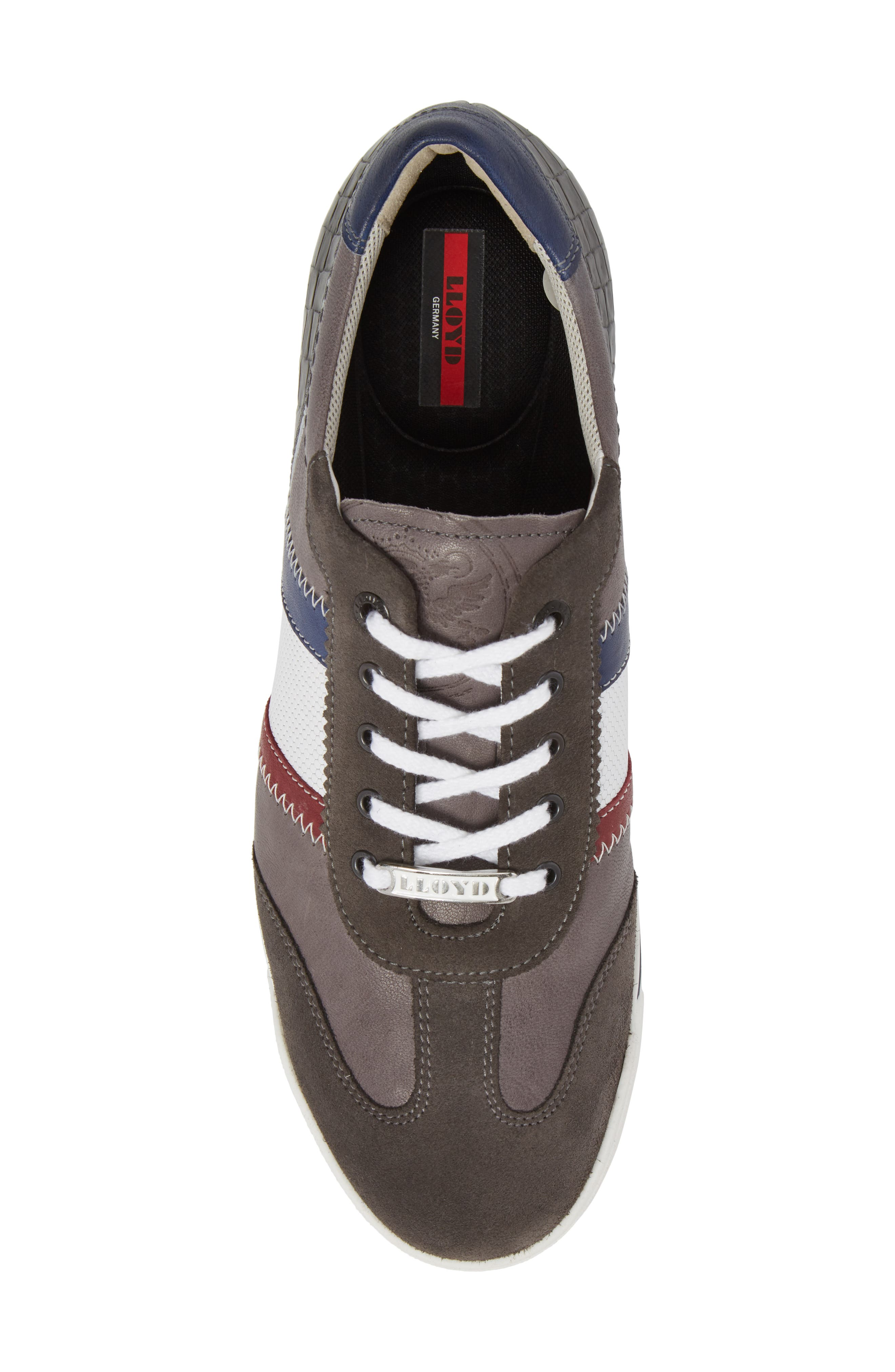 Aaron Low Top Sneaker,                             Alternate thumbnail 5, color,                             Grey Leather/ Suede