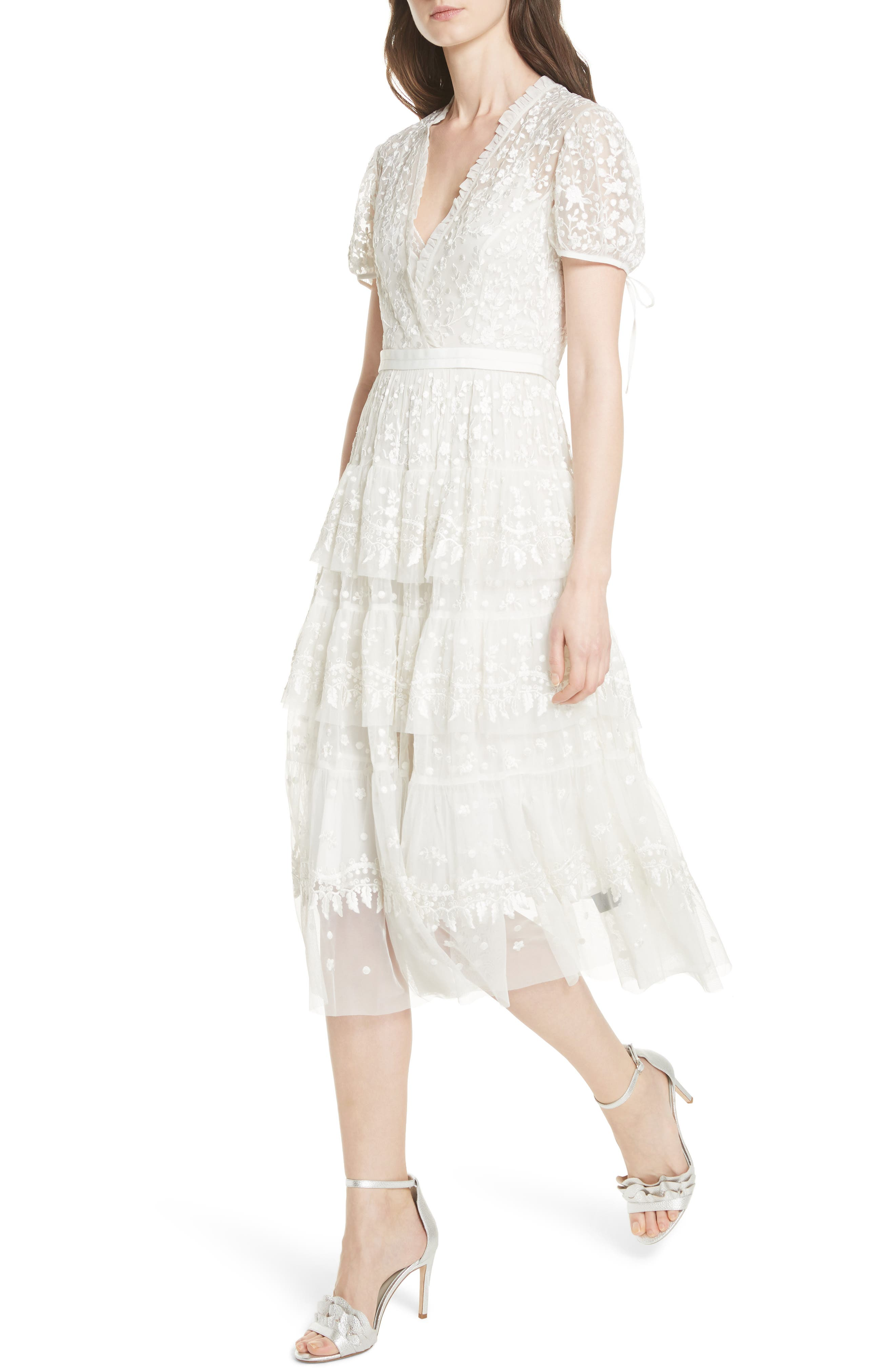 Layered Lace Dress,                             Alternate thumbnail 5, color,                             Ivory
