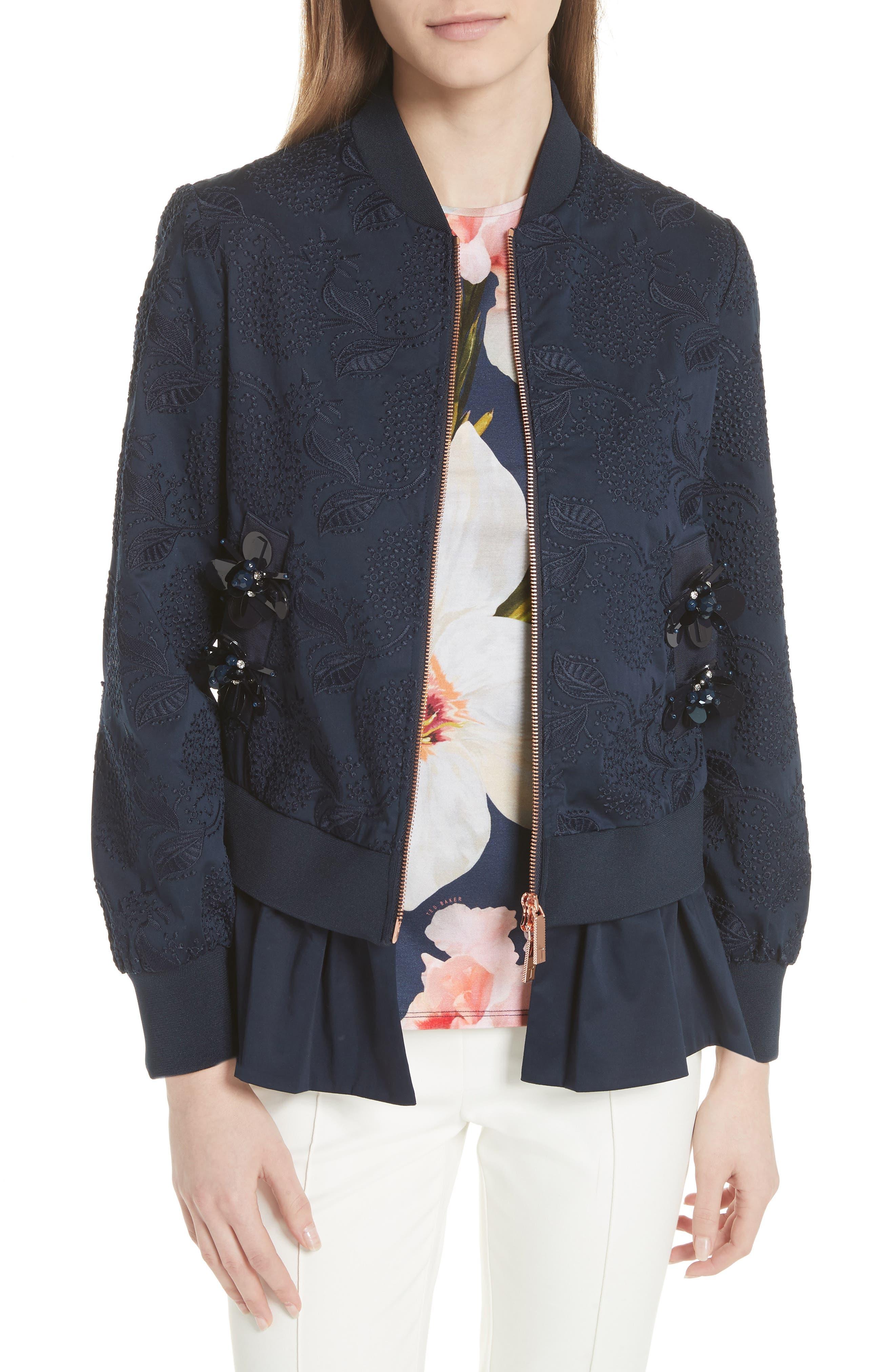 Embellished Frill Trim Bomber Jacket,                         Main,                         color, Navy