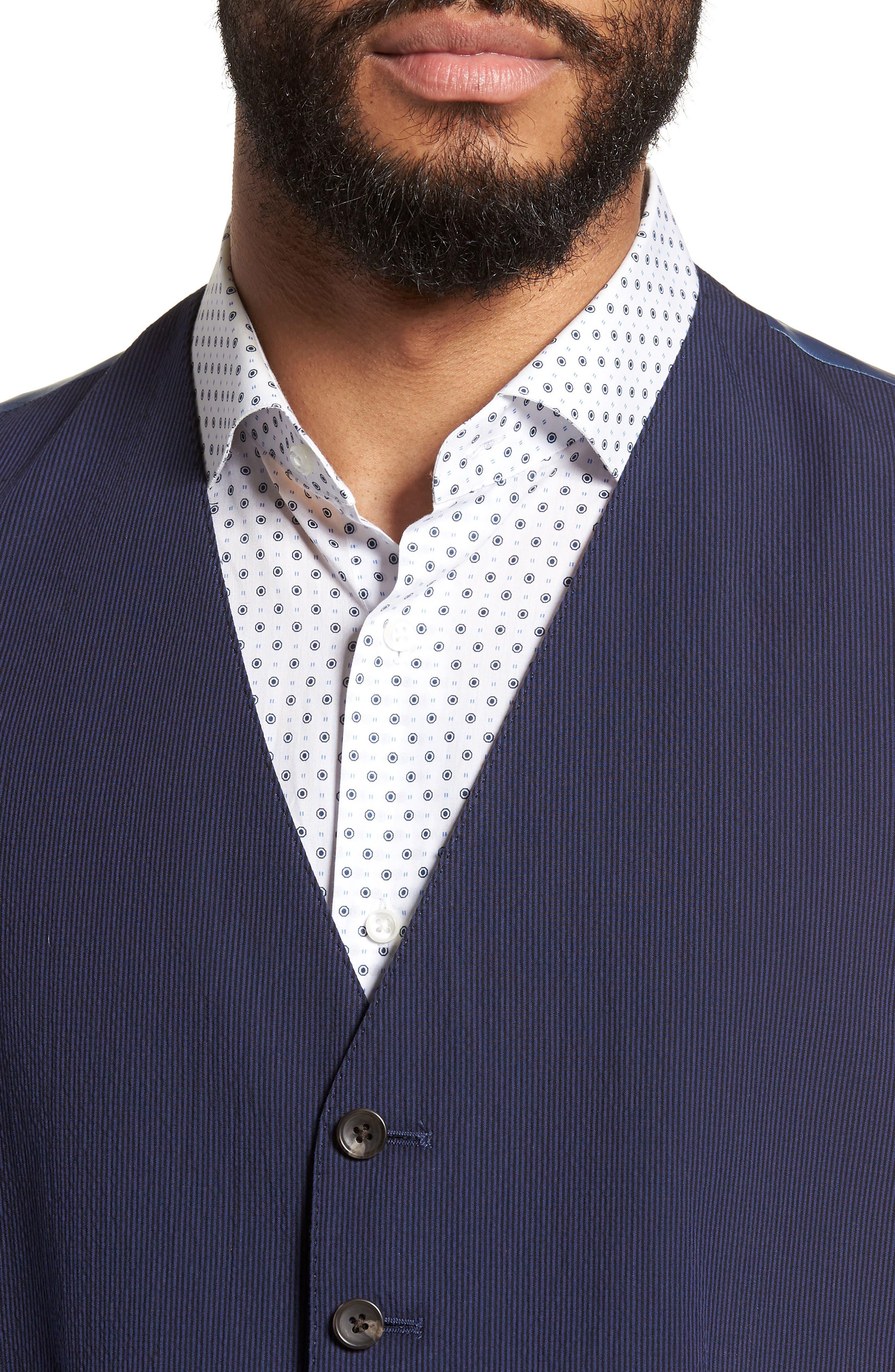 Alfa Trim Fit Seersucker Vest,                             Alternate thumbnail 4, color,                             Navy Stripe