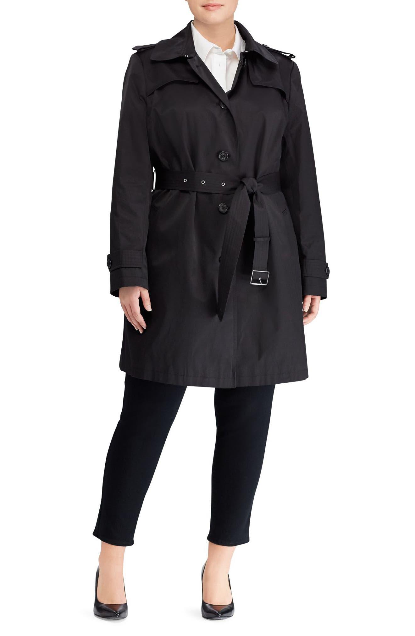 Trench Coat,                             Alternate thumbnail 3, color,                             Black
