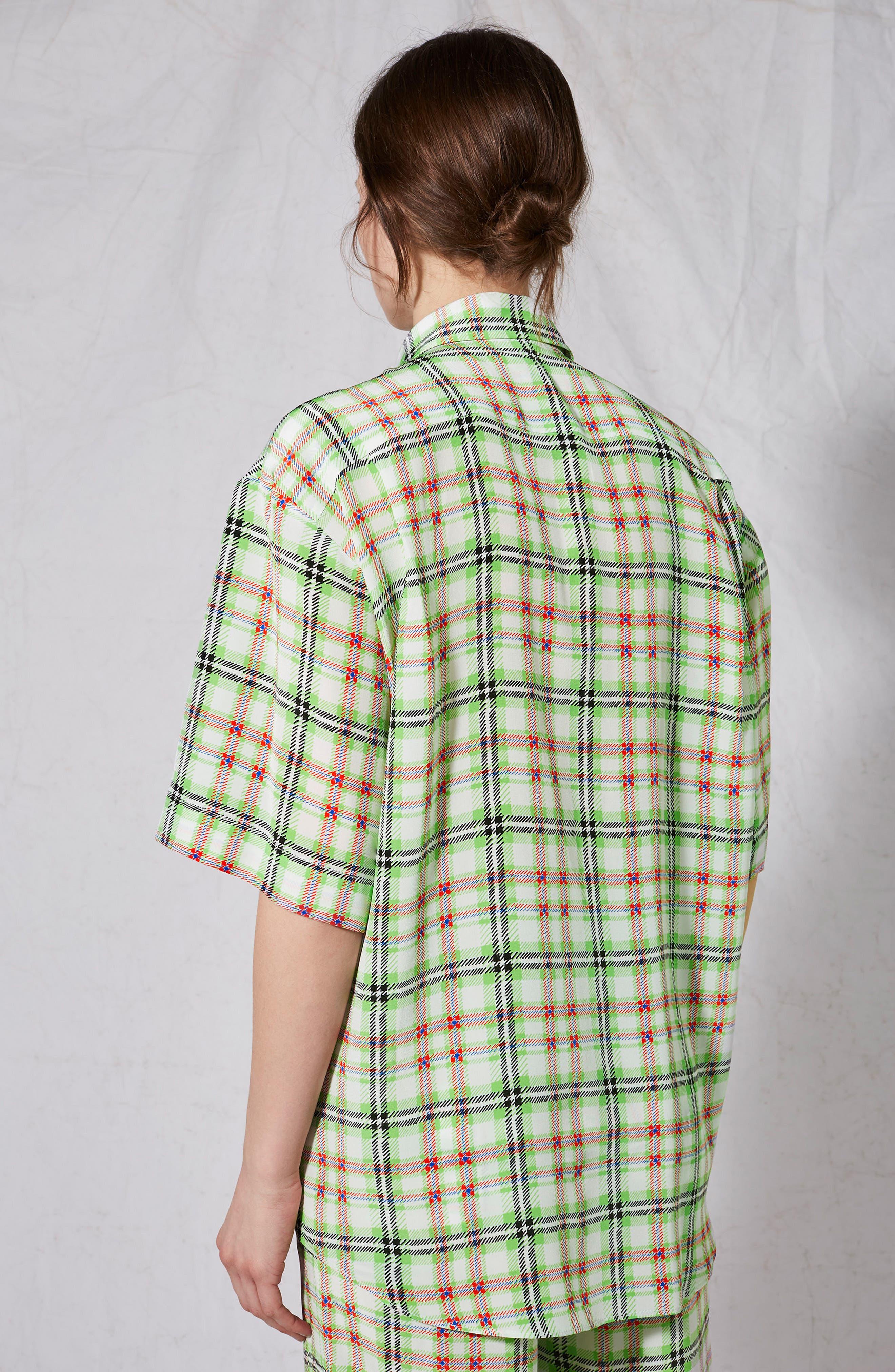 Silk Bowling Shirt,                             Alternate thumbnail 3, color,                             Green Multi