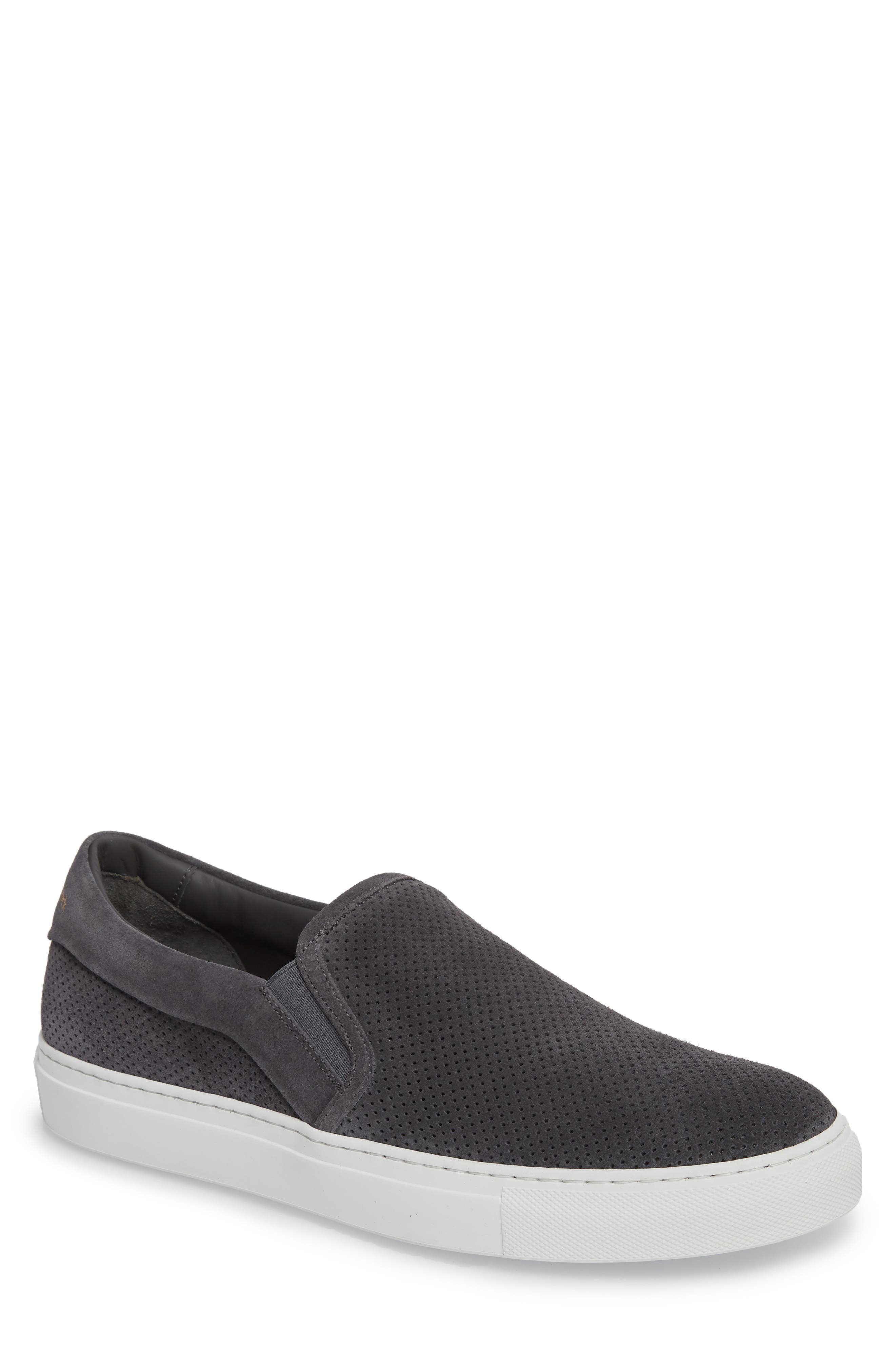 Buelton Perforated Slip-On Sneaker,                             Main thumbnail 1, color,                             Avion/ Tan Suede