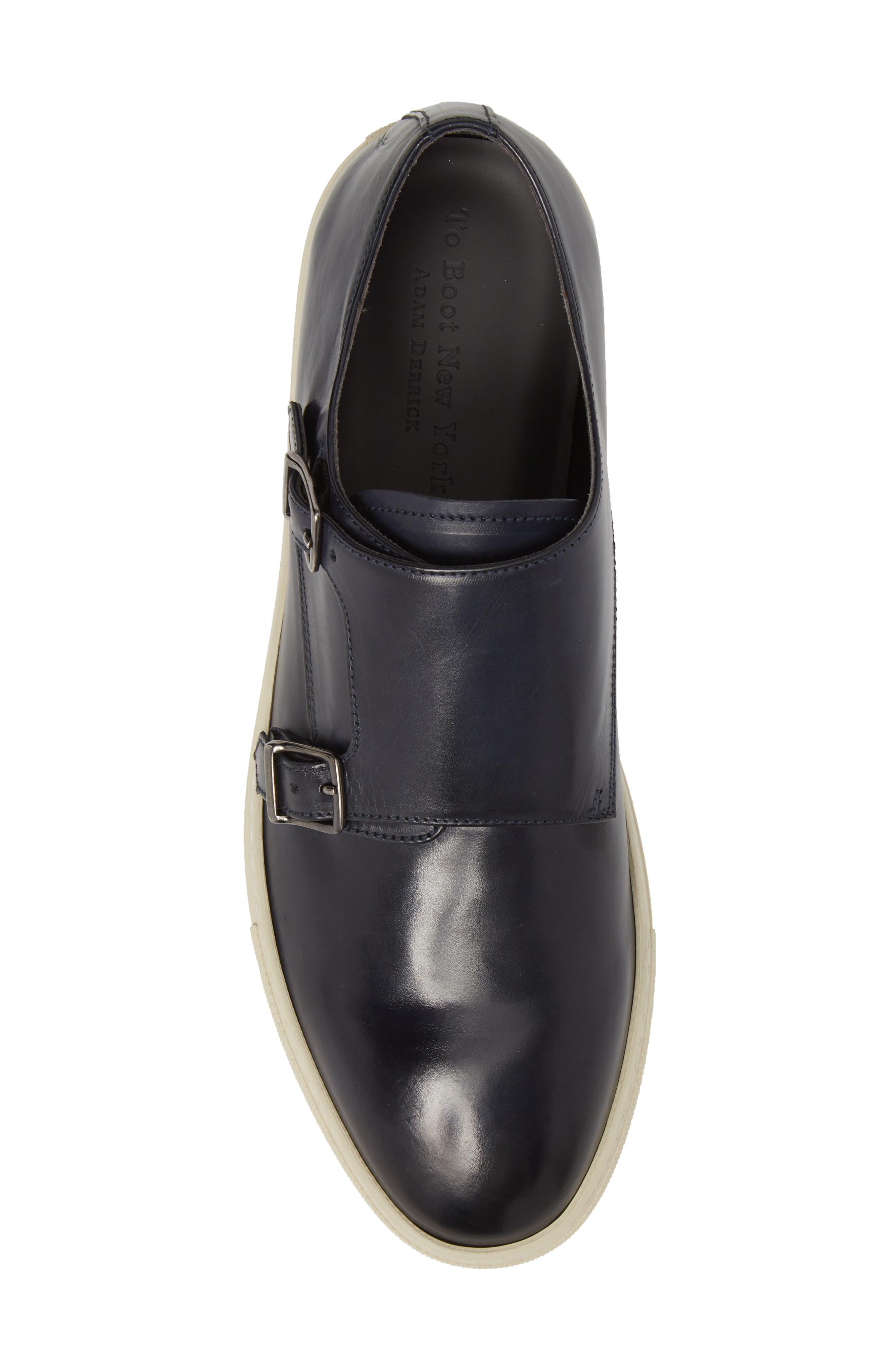 Gildden Double Monk Strap Sneaker,                             Alternate thumbnail 5, color,                             Diver Blue Marine Leather