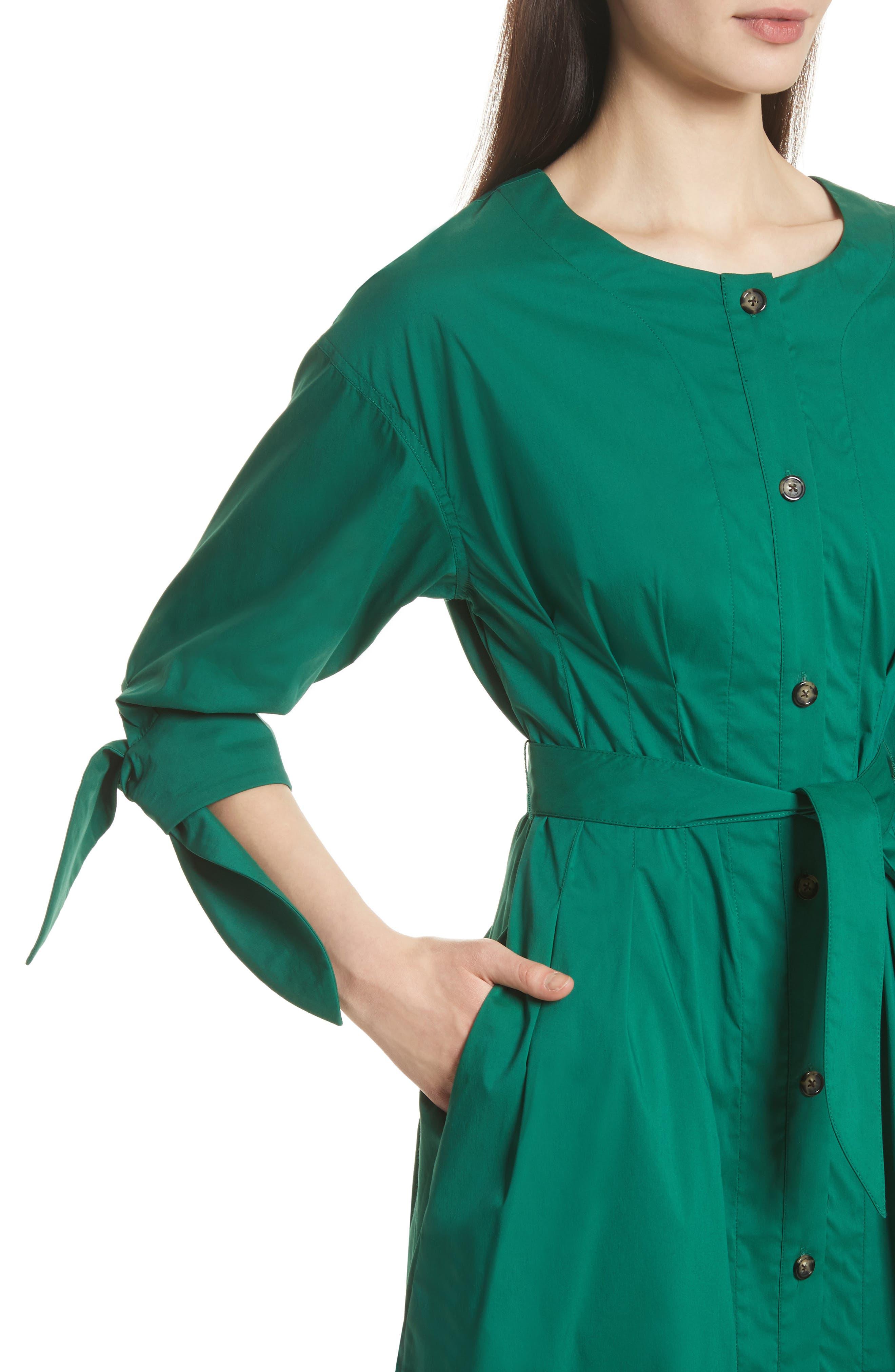Cotton Blend Tie Dress,                             Alternate thumbnail 5, color,                             Emerald